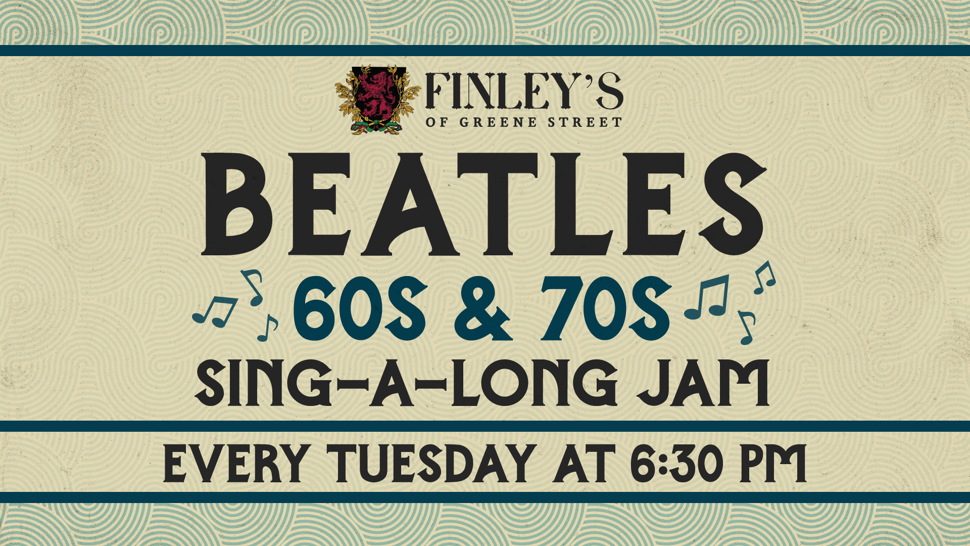 Flyer for Beatles 60s and 70s Sing-a-Long Jam