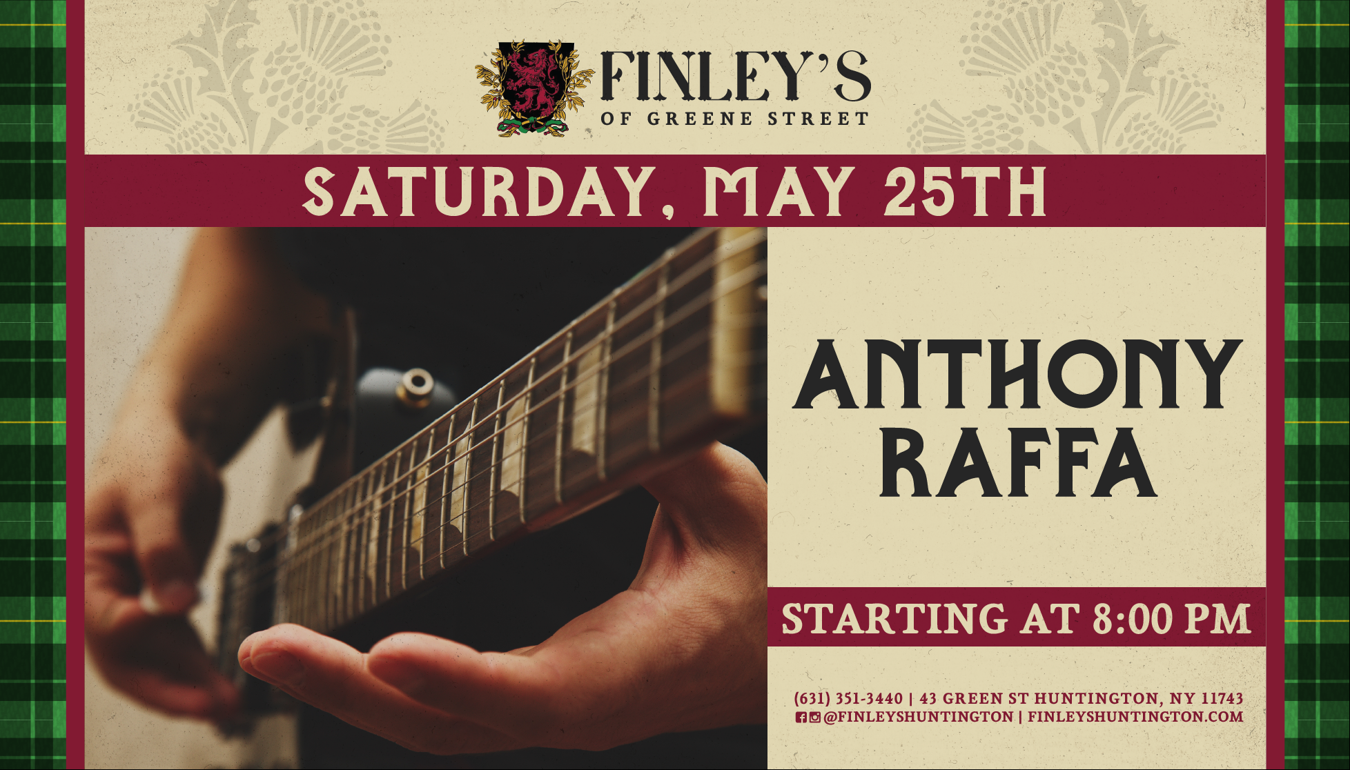 Flyer for Anthony Raffa on May 25th at 8pm
