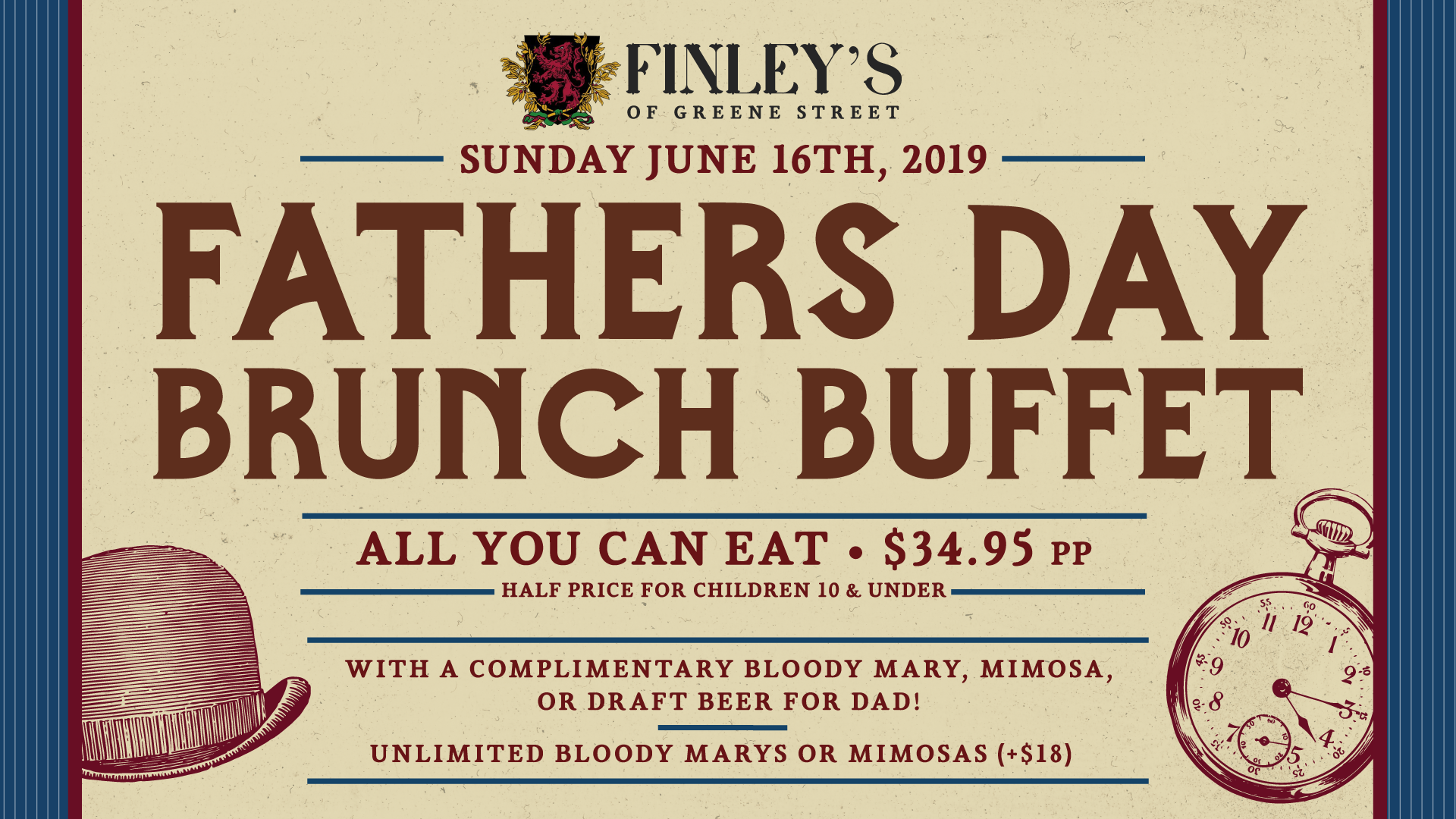 Flyer for Finley's Fathers Day Brunch Buffet