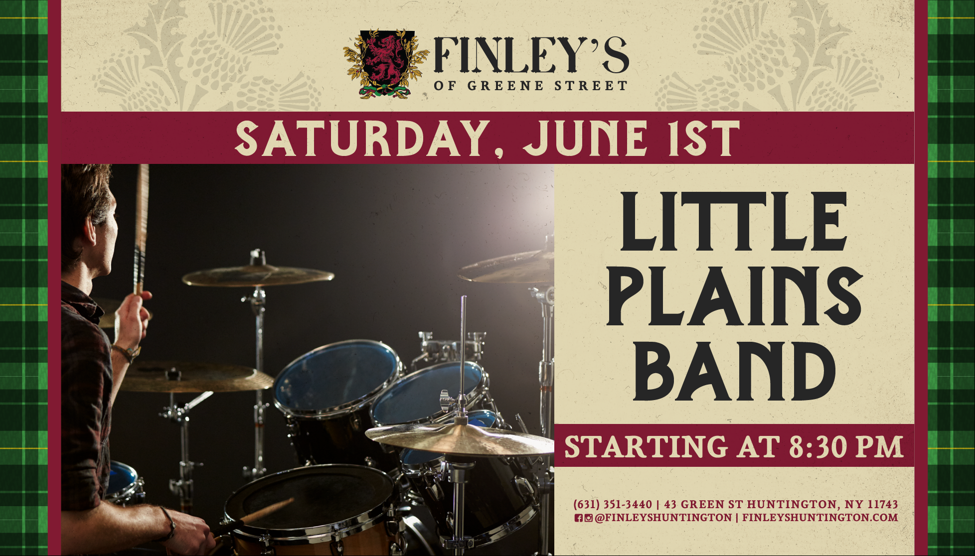 Flyer for the Little Plains Band on Saturday June 1st