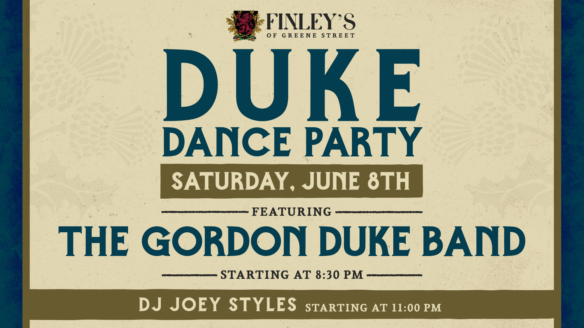 Flyer for Duke Dance Party with the Gordon Duke Band on June 8th at 8:30pm