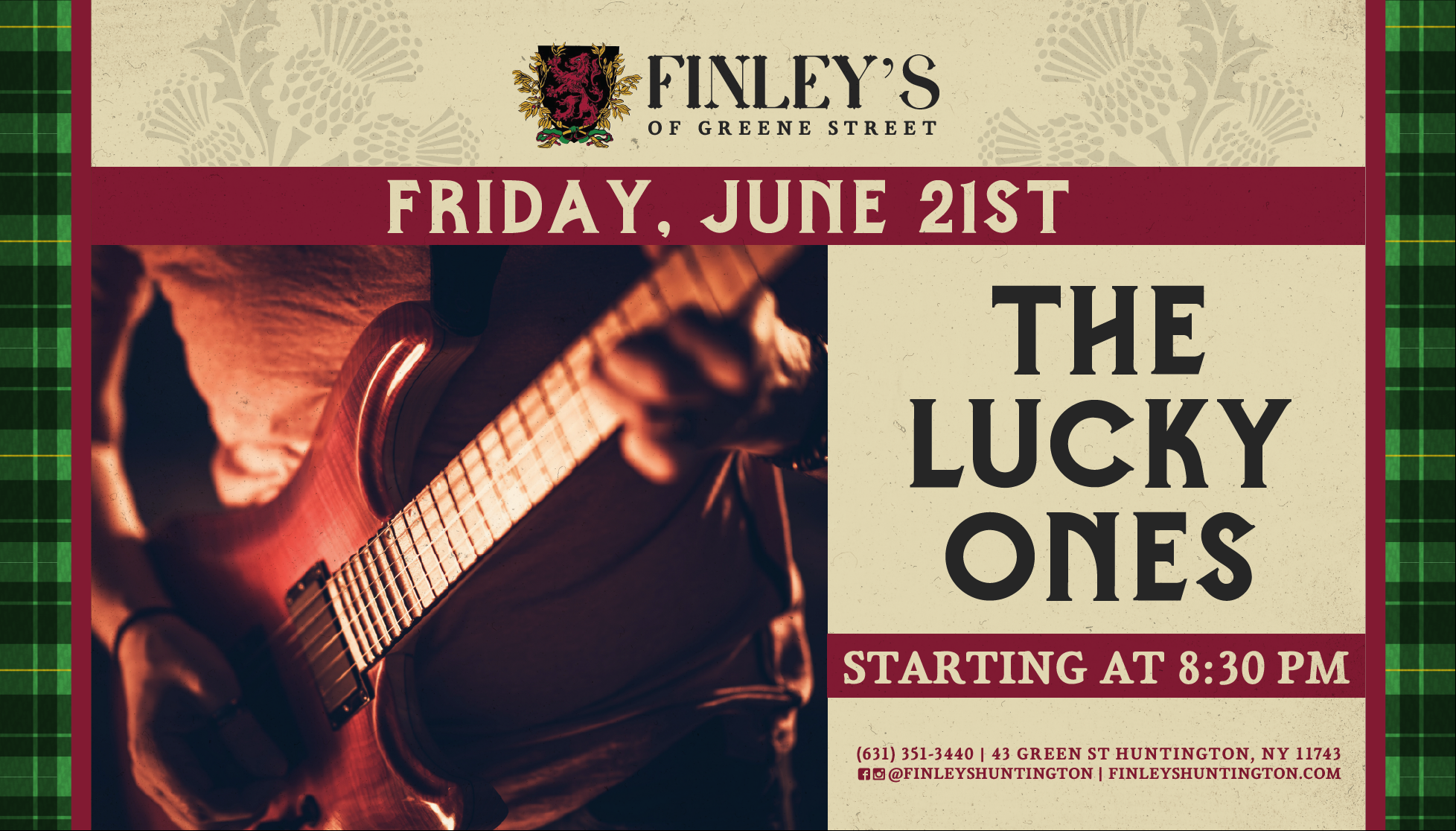 Flyer for The Lucky Ones starting at 8:30pm.
