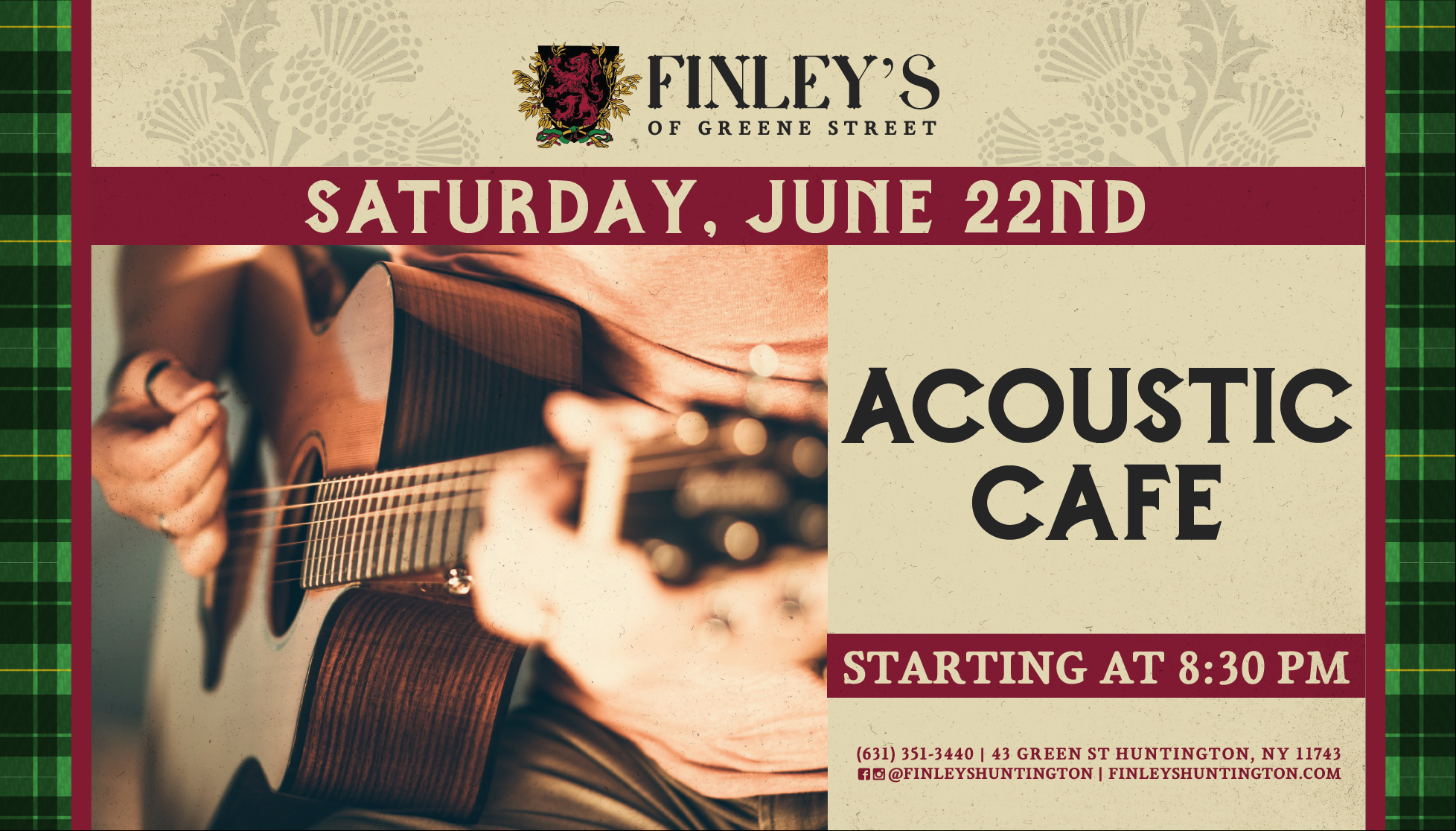 Flyer for Acoustic Cafe starting at 8:30pm on June 22nd