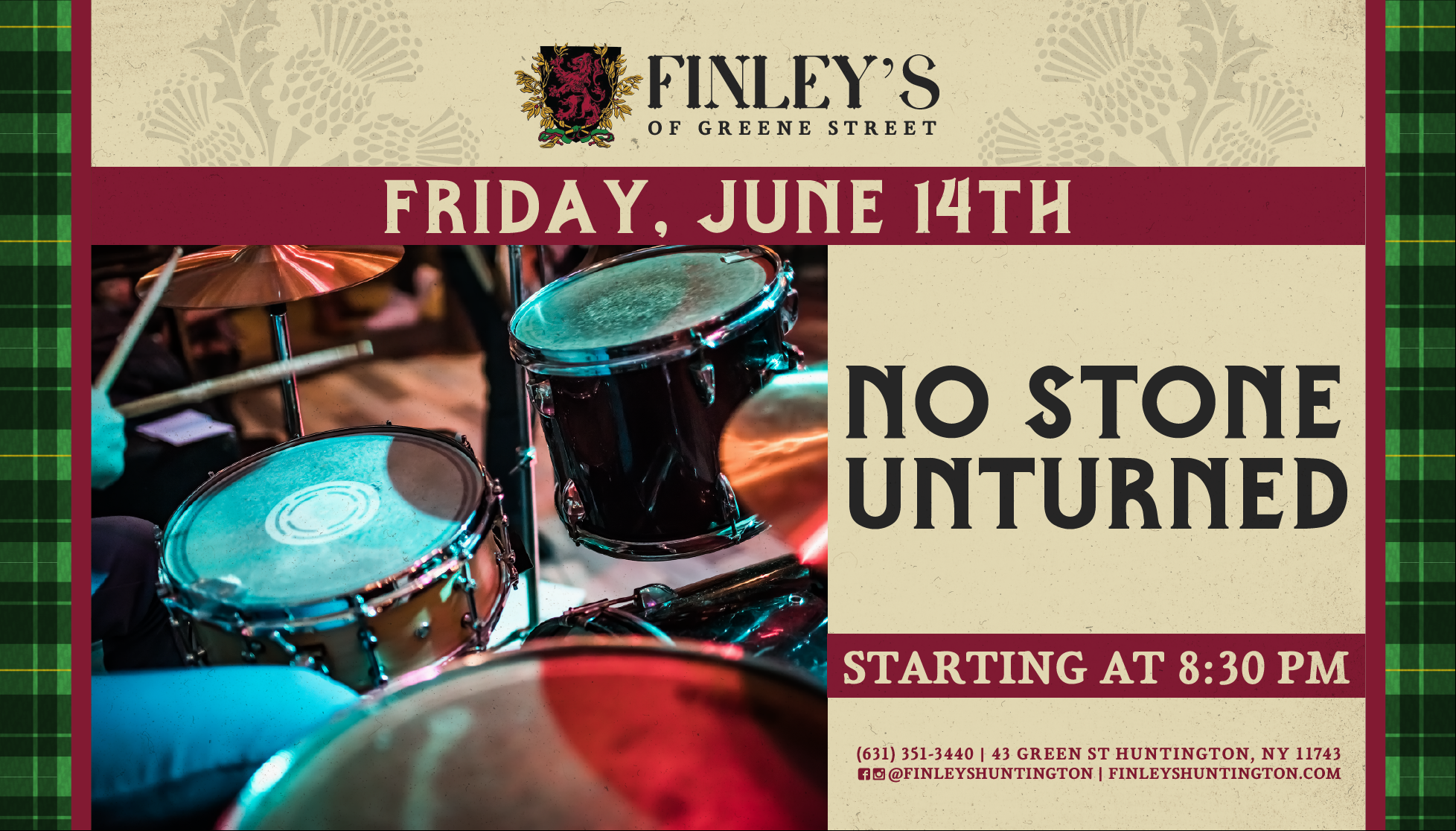 Flyer for live music with No Stone Unturned on June 14th at 8:30pm