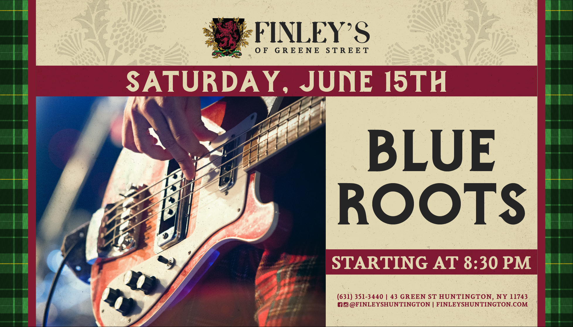 Flyer for live music with Blue Roots starting at 8:30pm on June 15th.