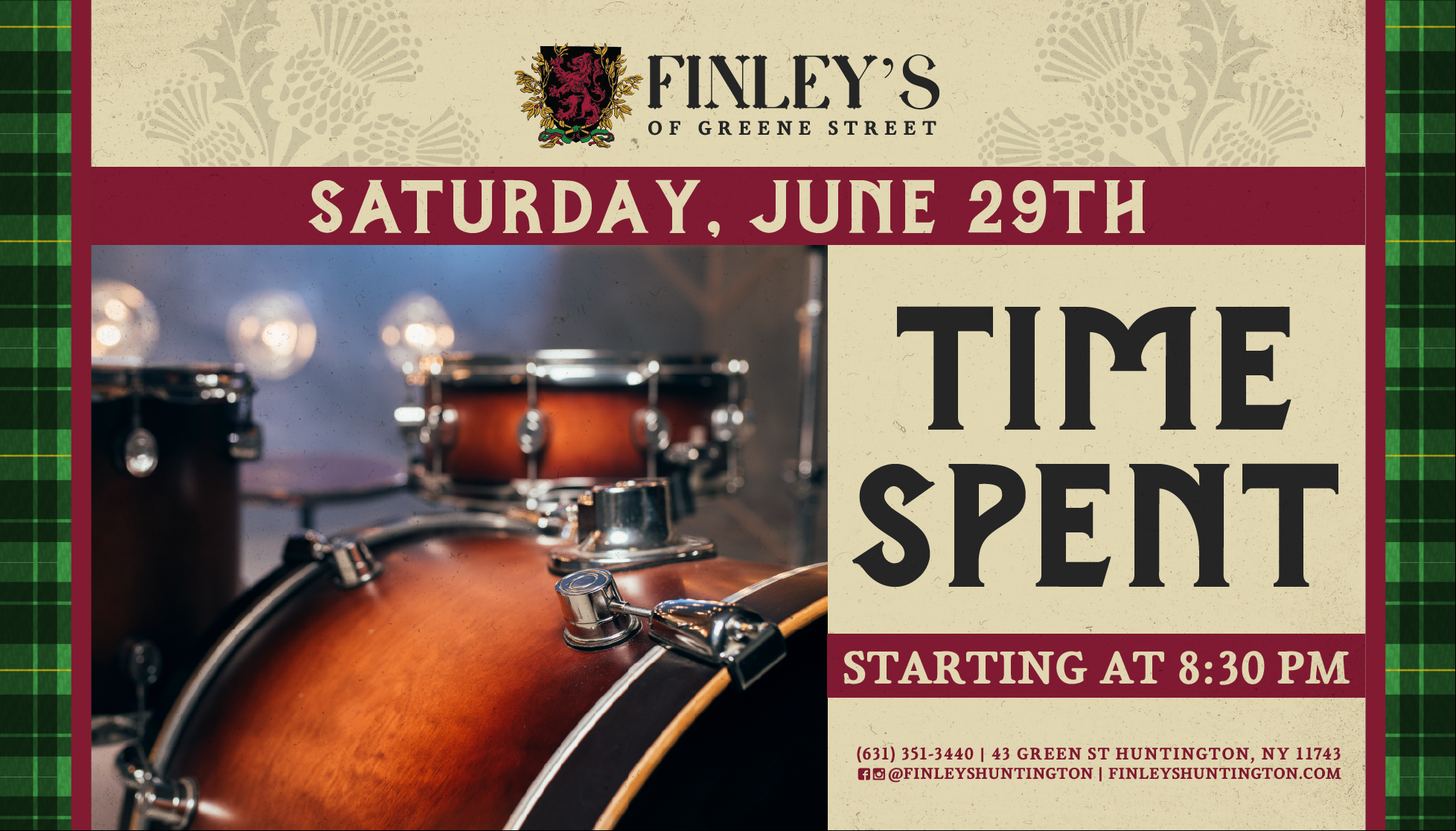 Flyer for live music with Time Spent at 8:30pm on June 29th.