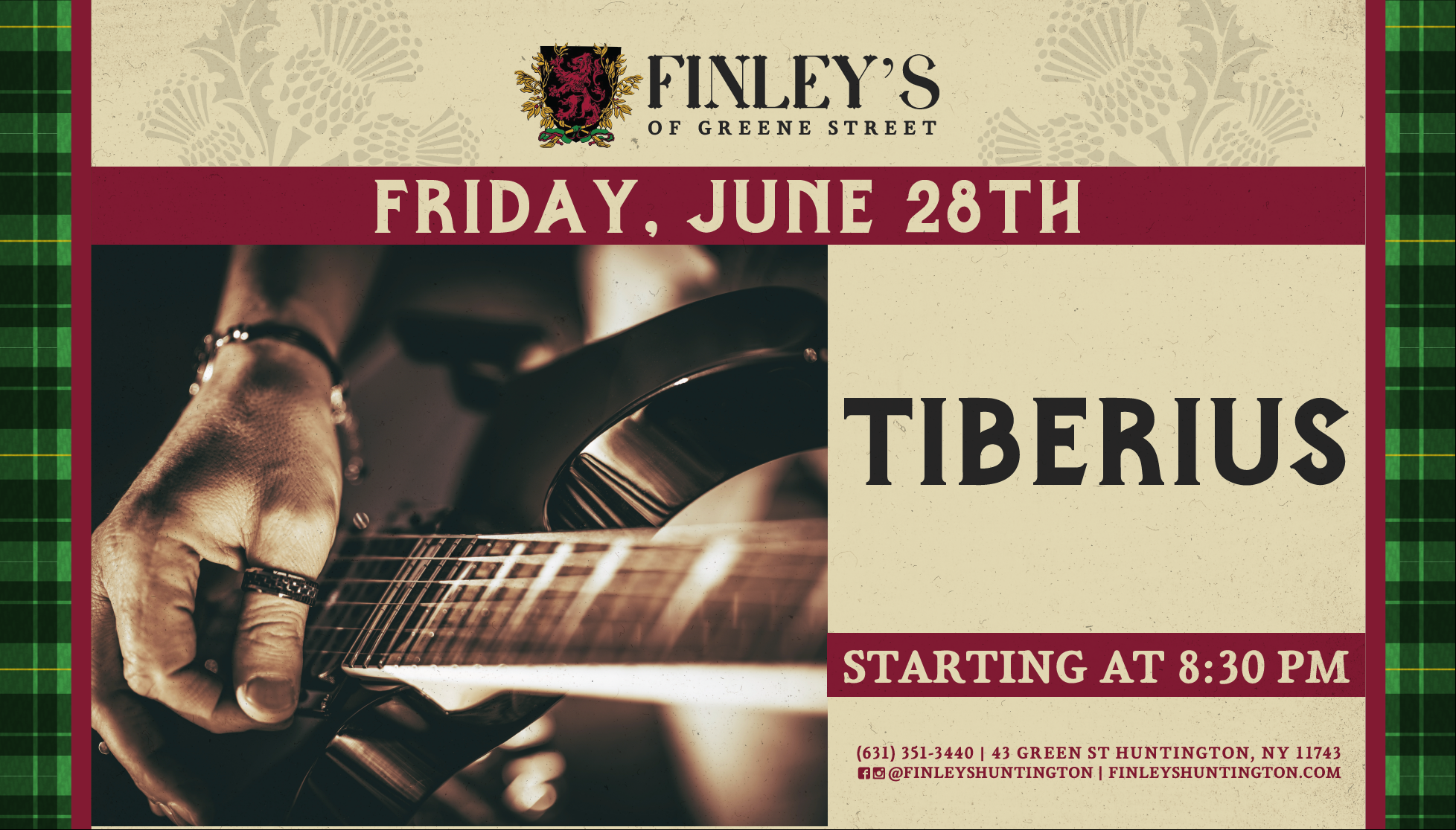 Flyer for the Tiberius on June 28th at 8:30pm.