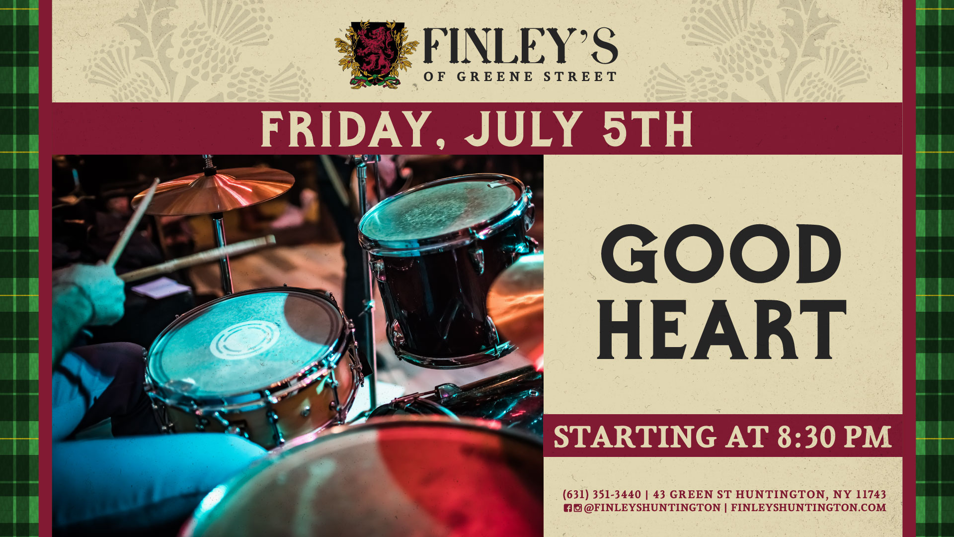 Flyer for live music with Good Heart at 8:30pm.