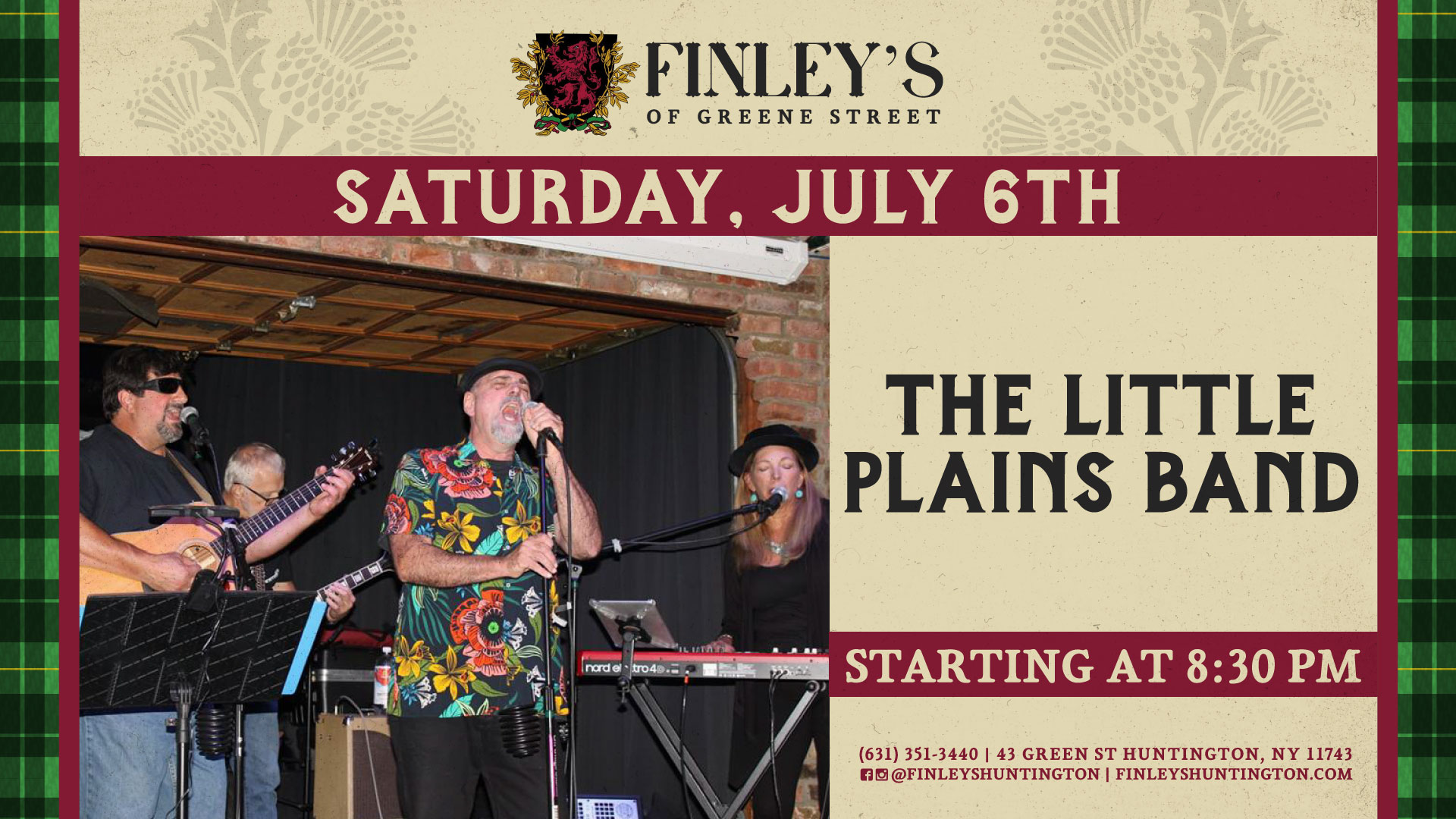 Flyer for live music with The Little Plains Band at 8:30pm on July 6th.