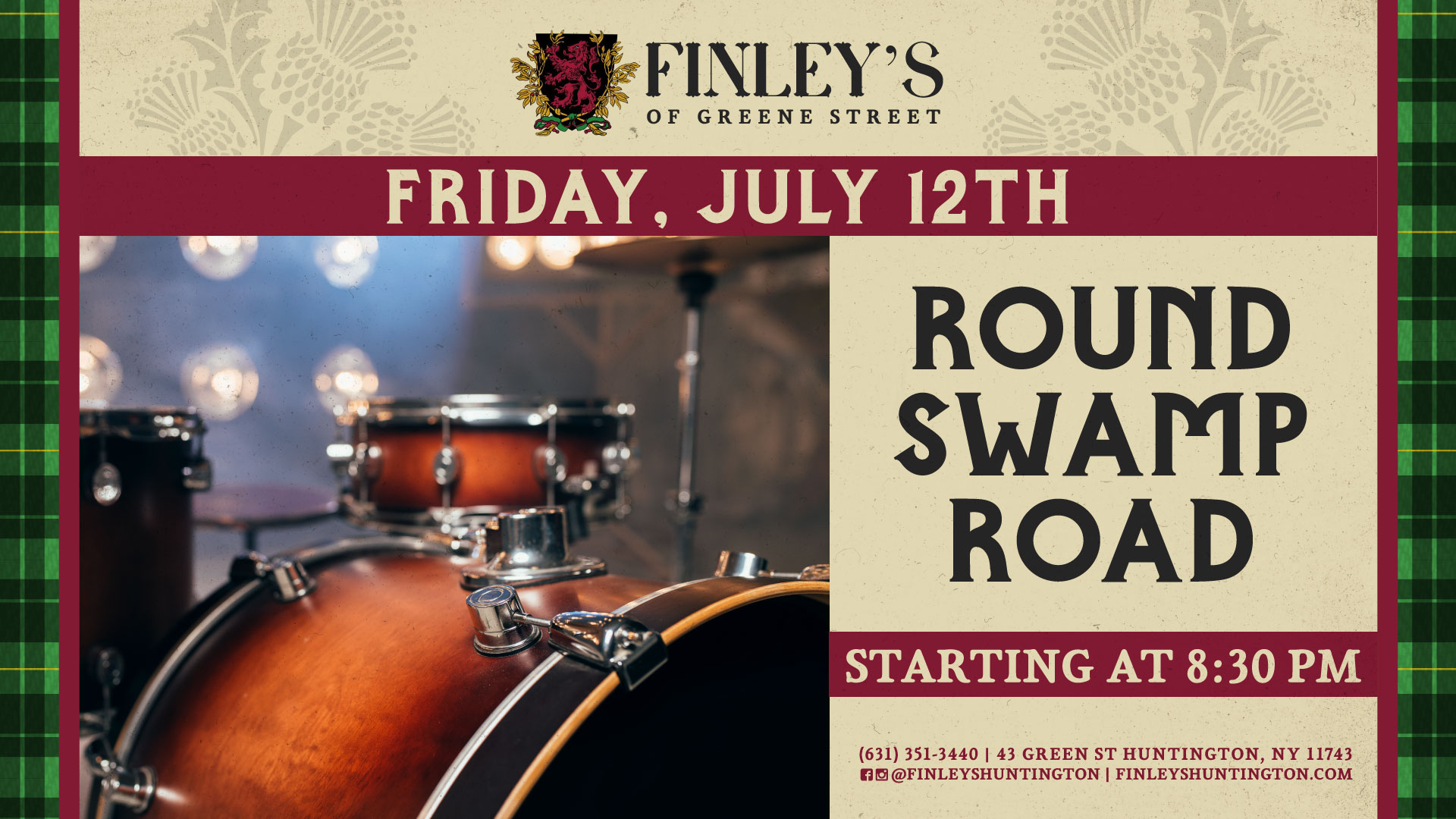 Flyer for live music with Round Swamp Road on July 12th at 8:30pm.