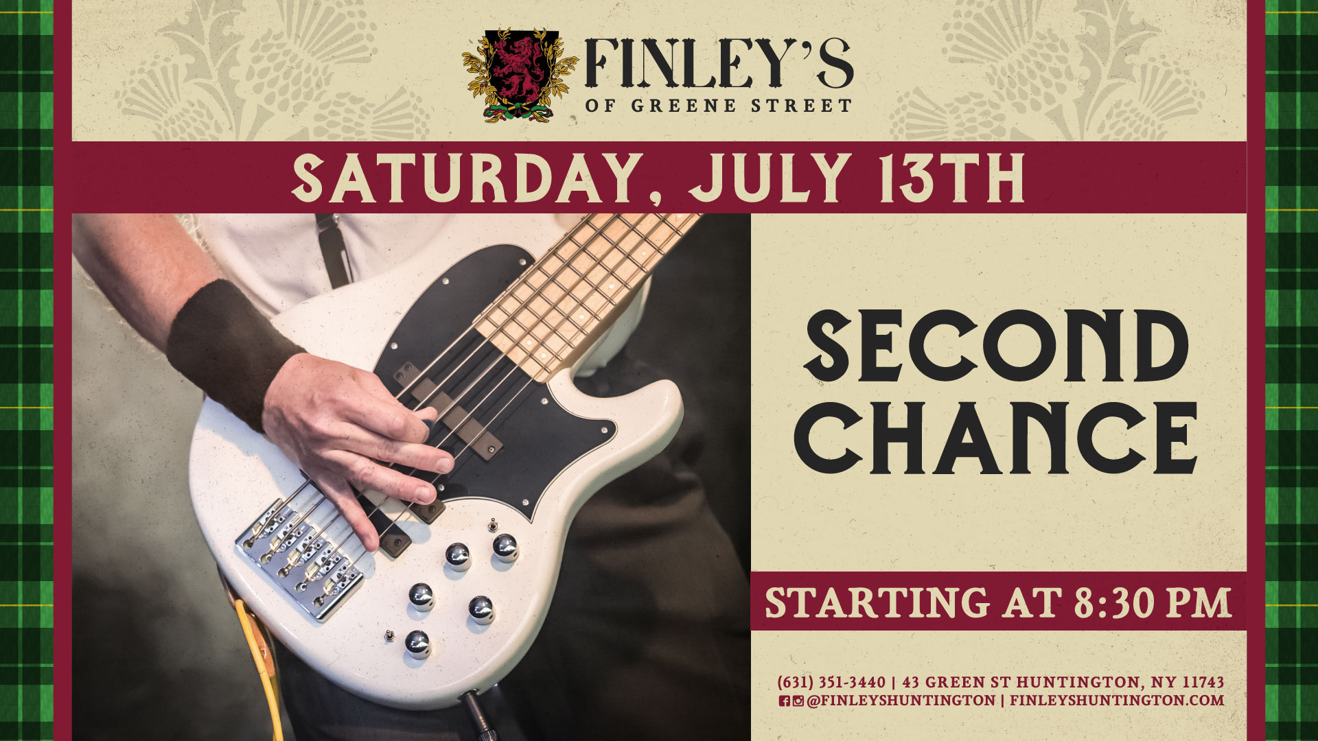 Flyer for live music with Second Chance on July 13th at 8:30pm.