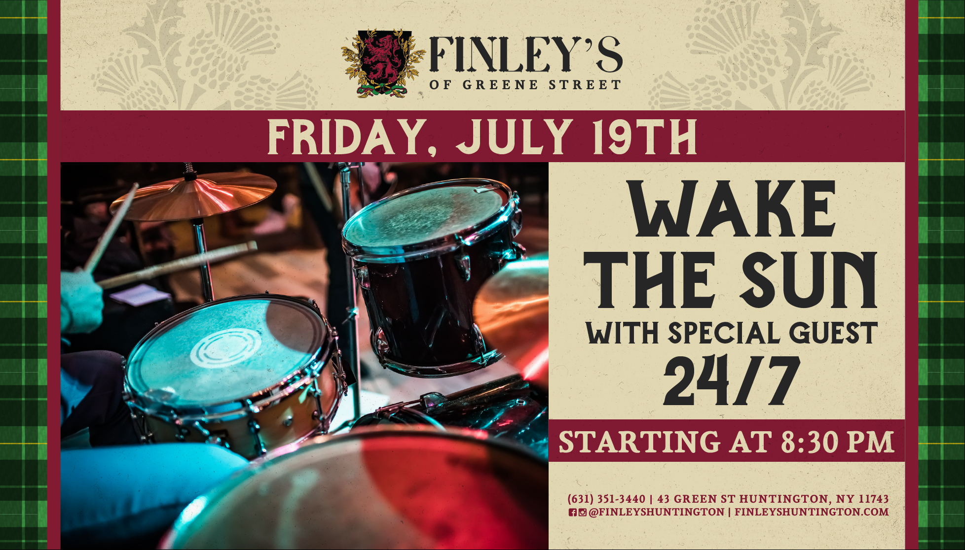Flyer for live music with Wake the Sun and Special Guest 24/7 at 8:30pm on July 19th.