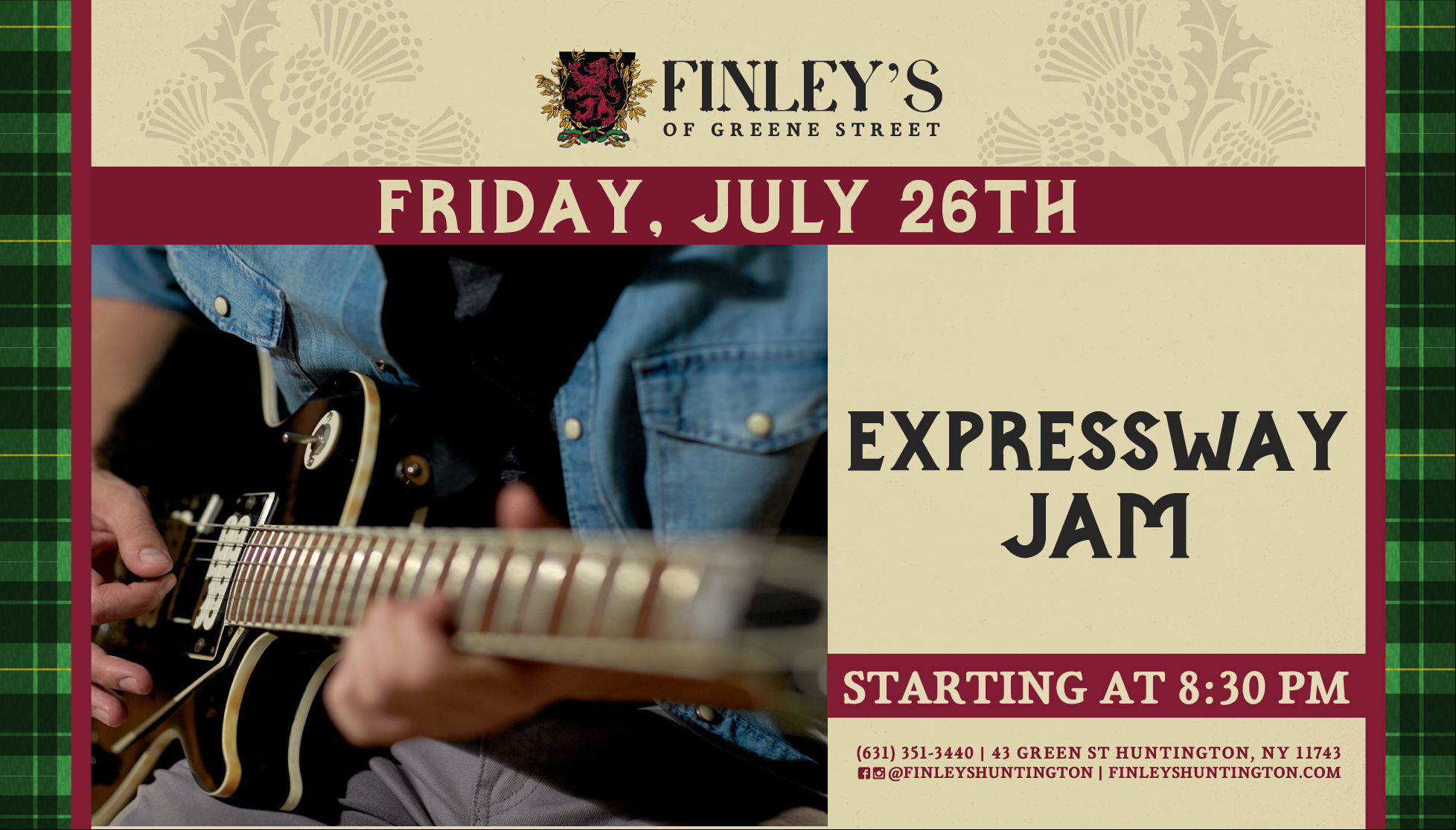 Flyer for live music with Expressway Jam on July 26th at 8:30pm