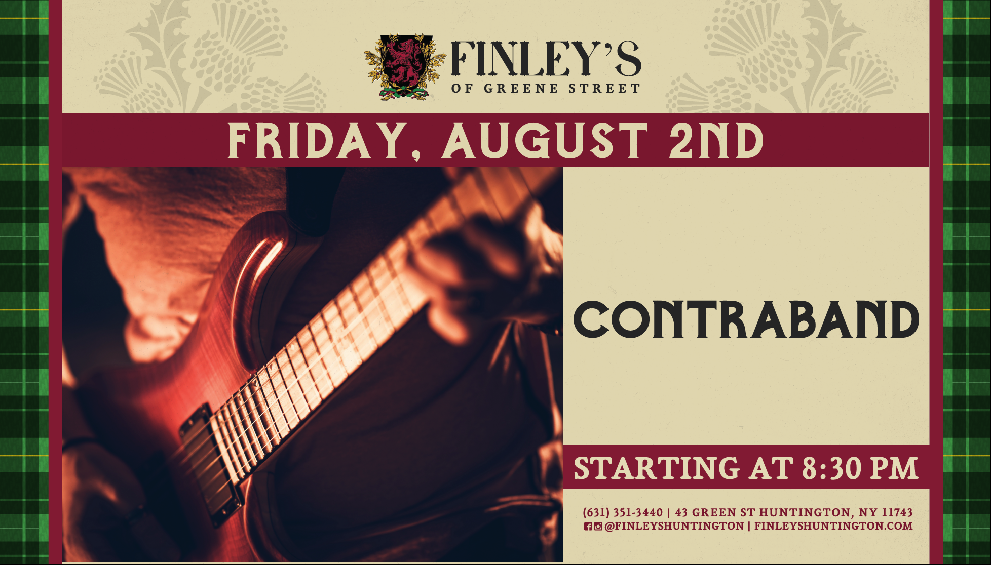 Flyer for live music with Contraband on August 2nd at 8:30pm