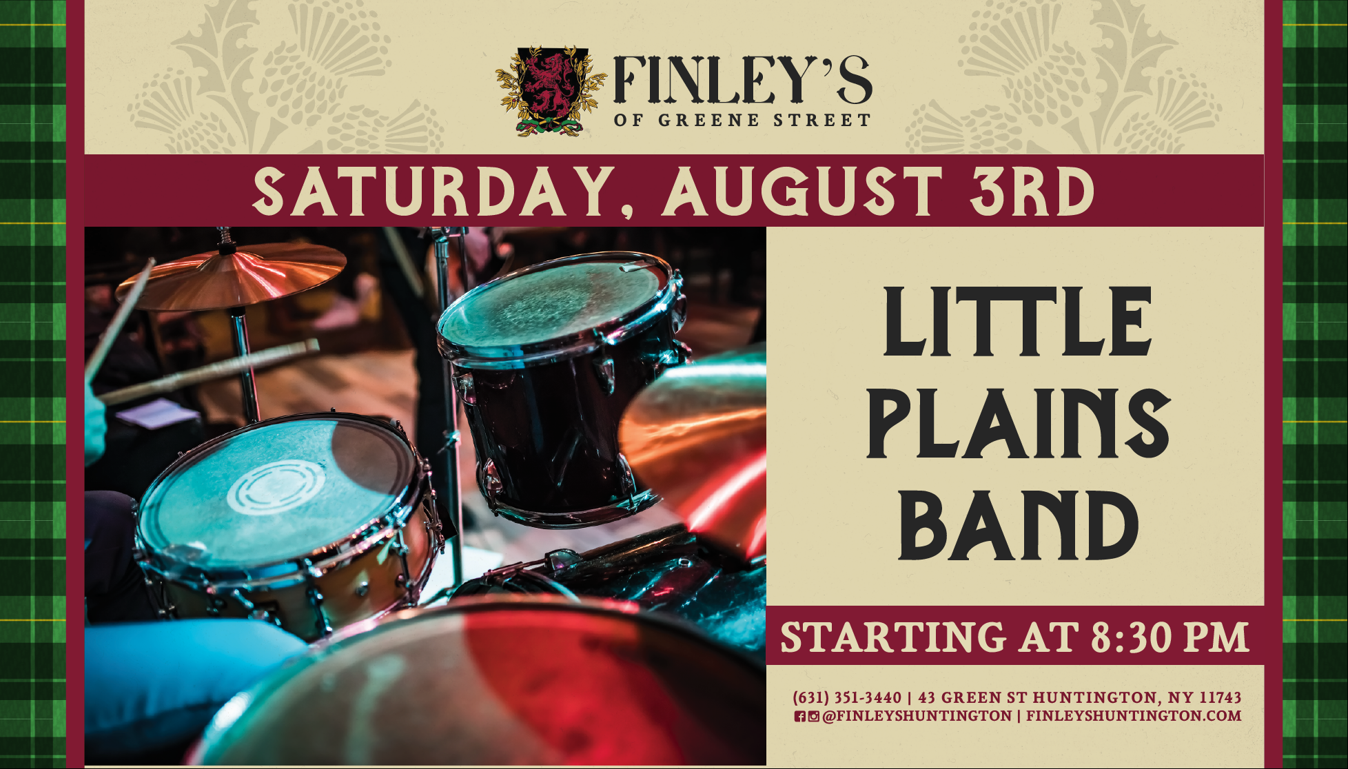 Flyer for live music with Little Plains Band on August 3rd at 8:30pm