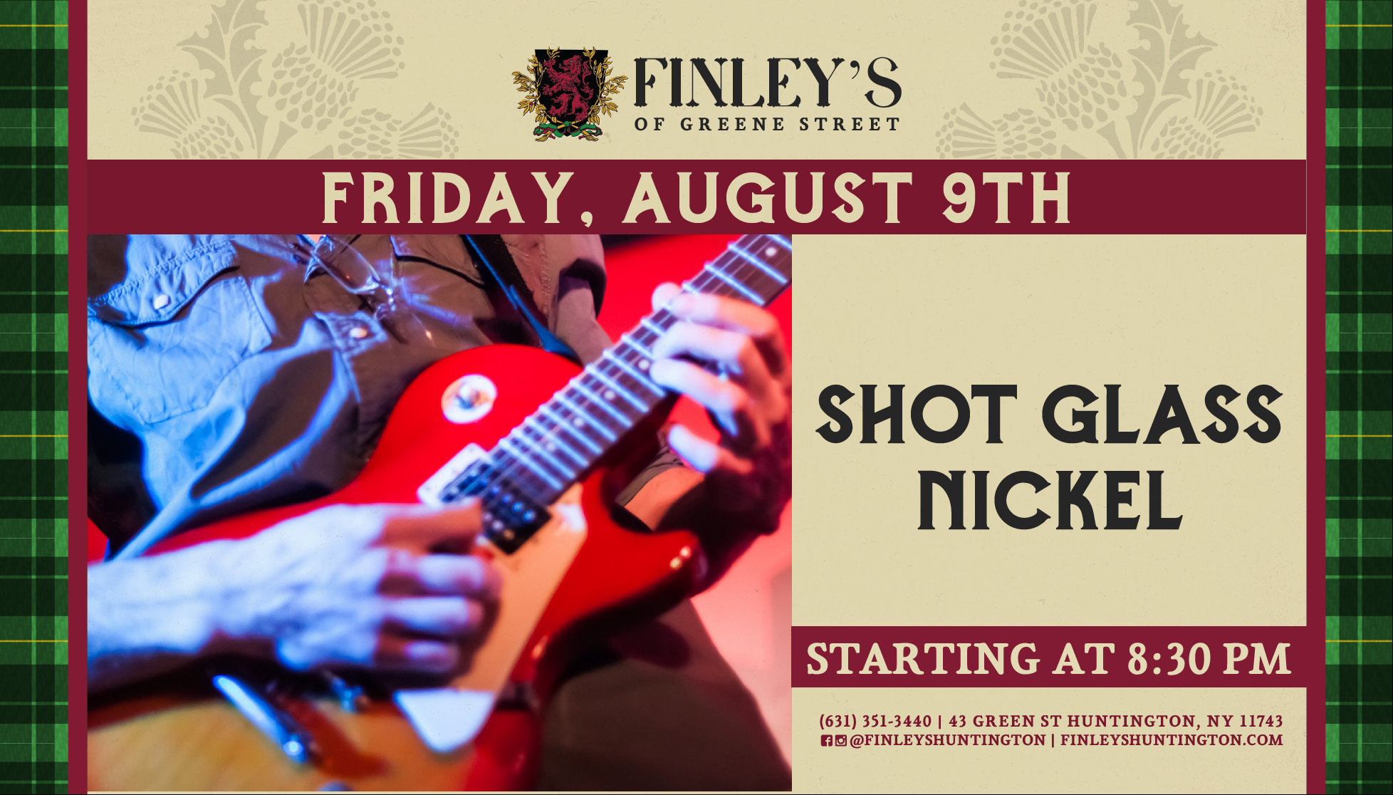 Flyer for live music with Shot Glass Nickel on August 9th at 8:30pm