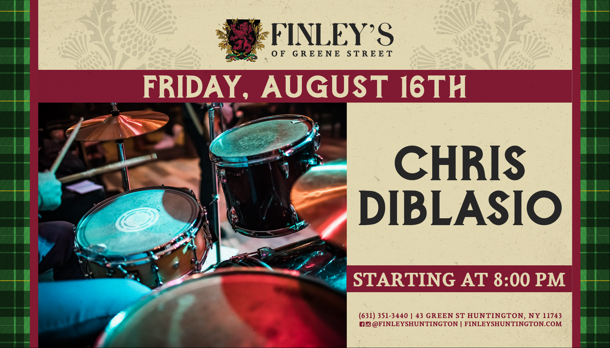 Flyer for Chris Diblasio on August 16th at 8pm.