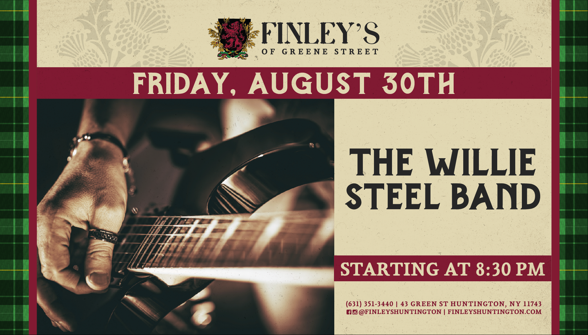 Flyer for The Willie Steel Band on August 30th at 8:30pm.