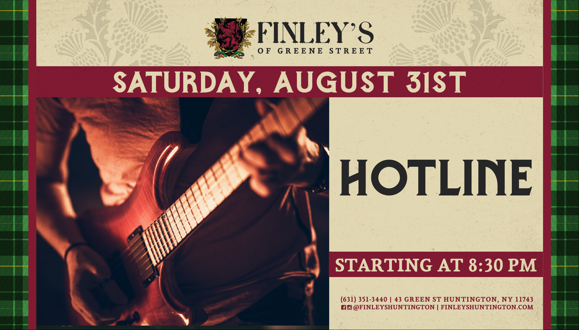 Flyer for live music with Hotline at Finley's on August 31st at 8:30pm.