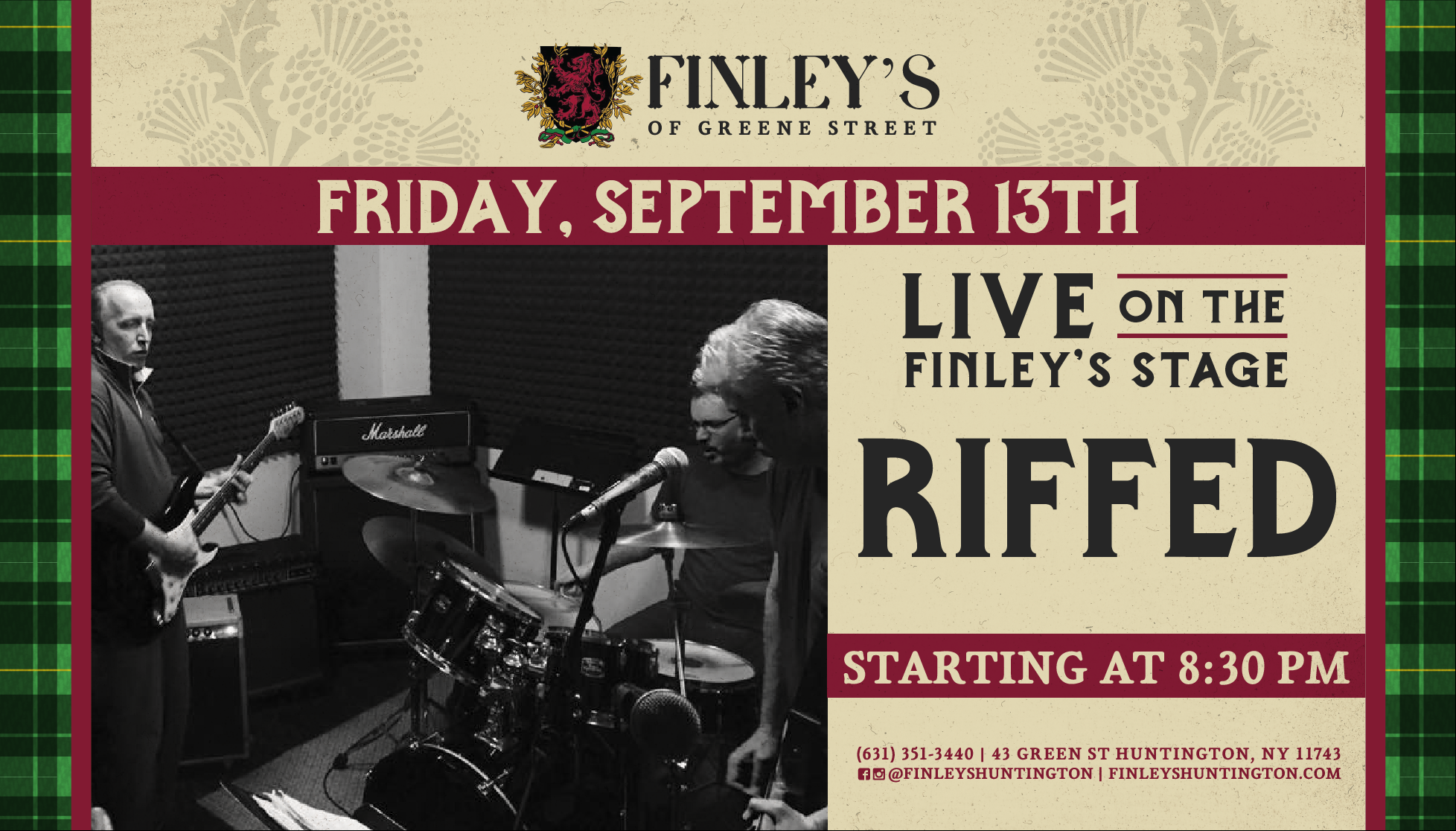 Flyer for live music with Riffed at 8:30pm on Friday, September 13th
