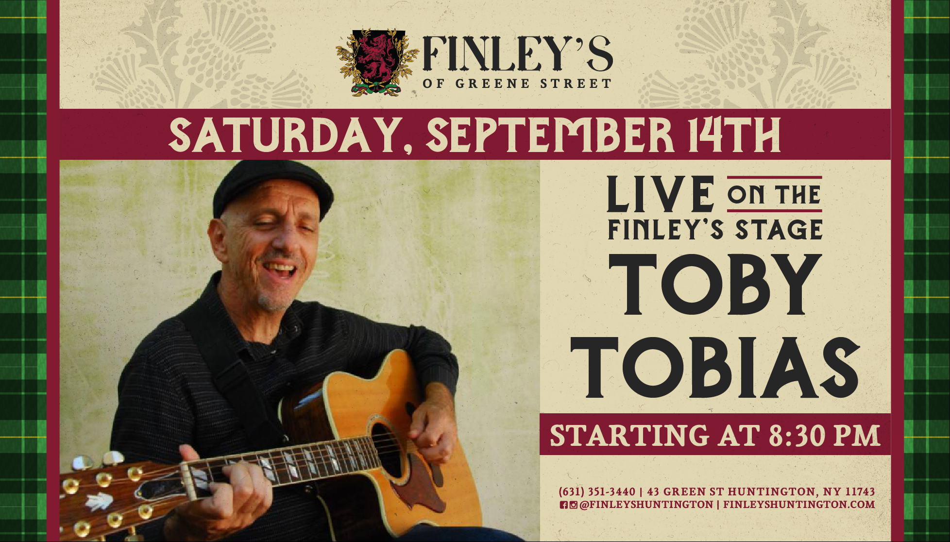 Flyer for live music with Toby Tobias on Saturday, September 14th at 8:30pm.