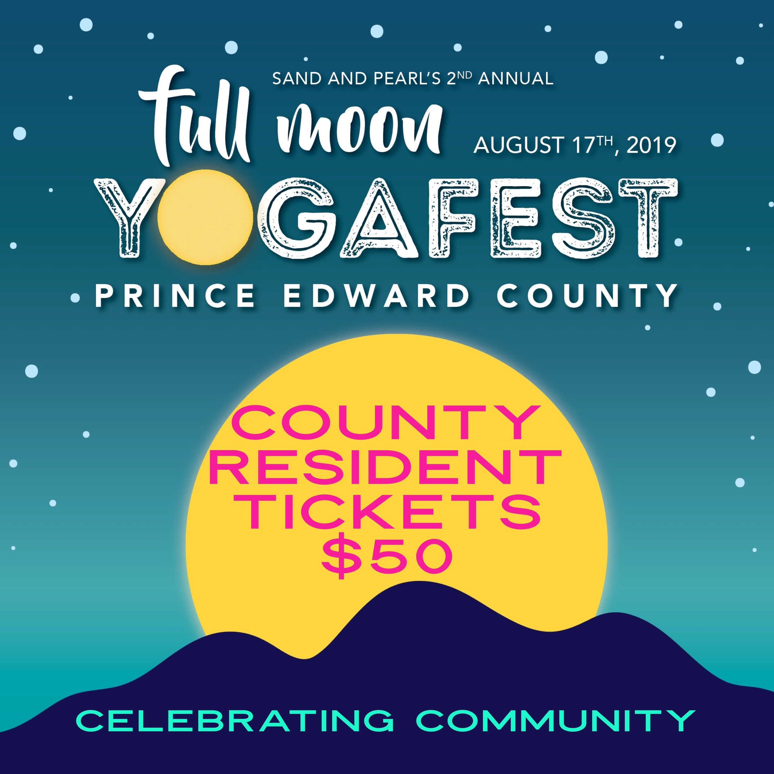 ARE YOU A COUNTY RESIDENT?  SCOOP YOUR $50 TICKET AT SAND AND PEARL, NOURISH THE SOUL, WILD HEARTS HEALING CENTRE AND SPIRITUAL ALCHEMPY FARM. CASH ONLY. PROOF OF RESIDENCY WILL BE REQUESTED.