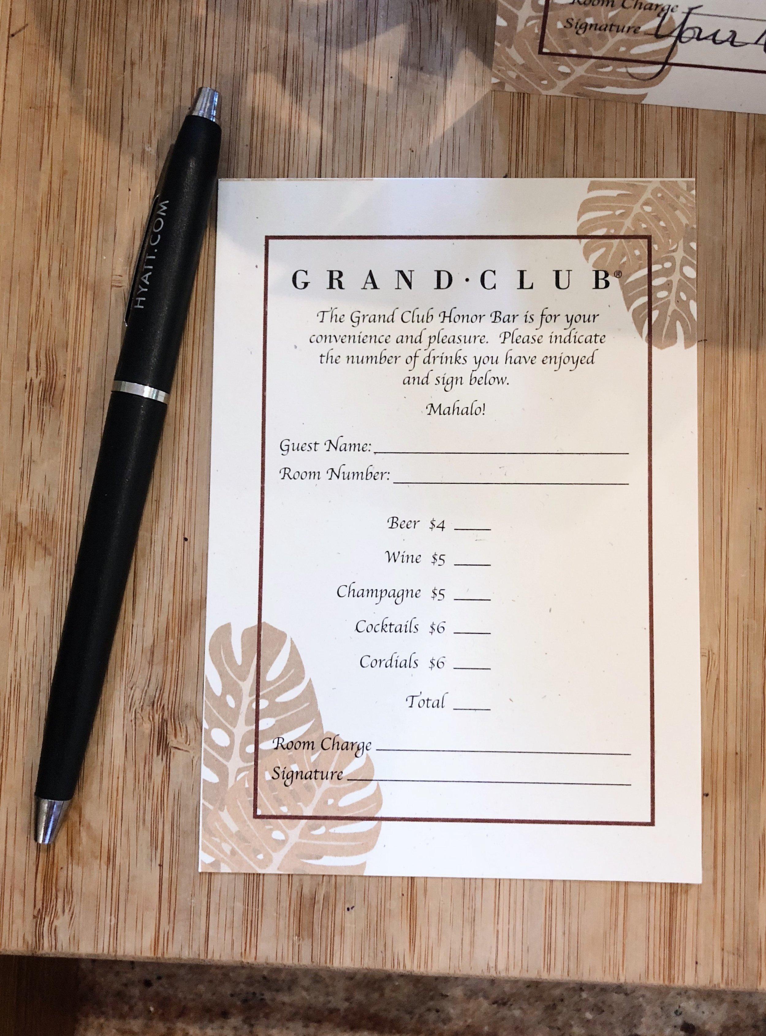 Honor bar at the Grand Hyatt Kauai's Grand Club Executive Lounge
