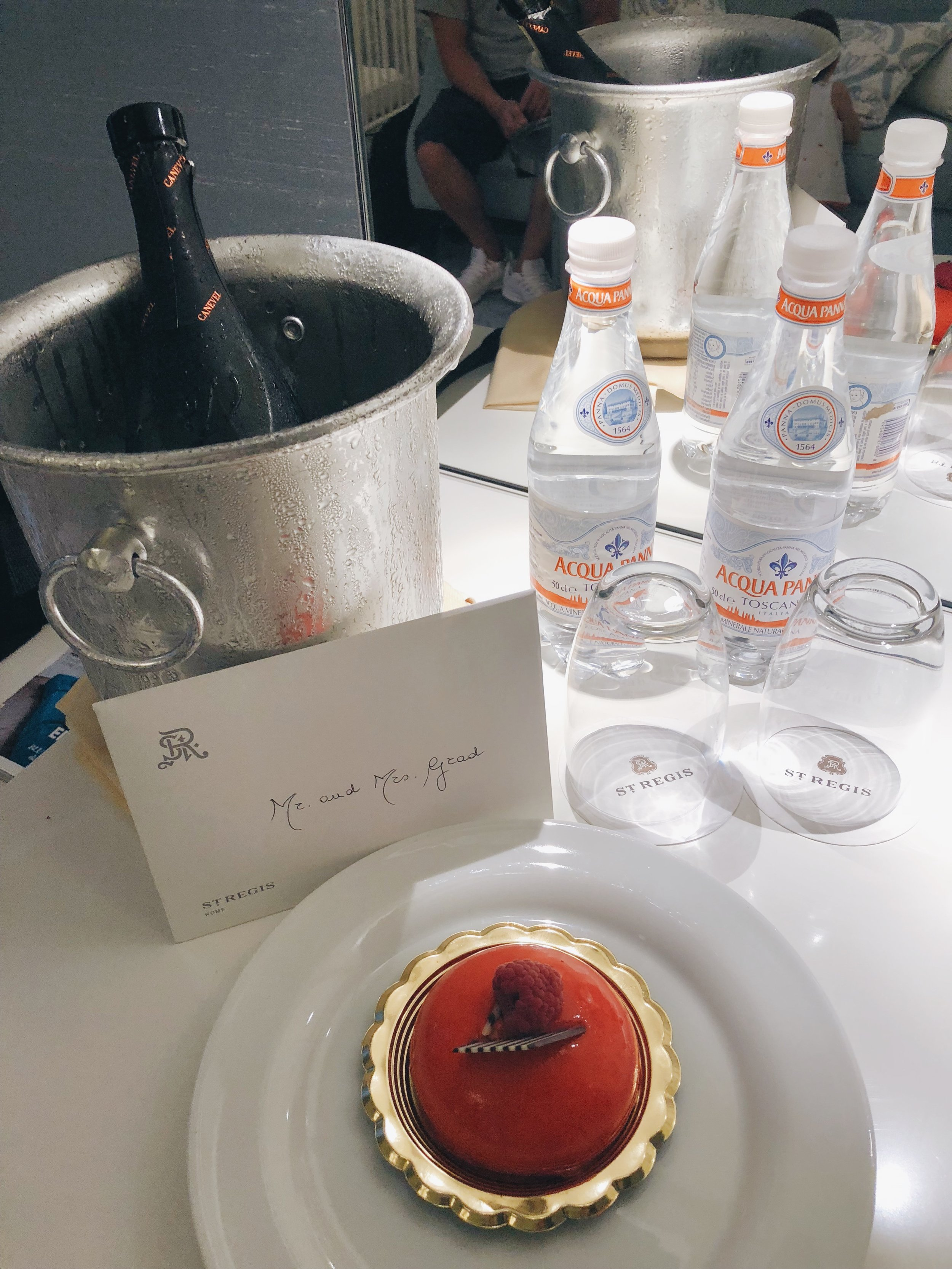 The staff was sweet enough to send us a small cake and bottle of champagne in celebration of our anniversary.