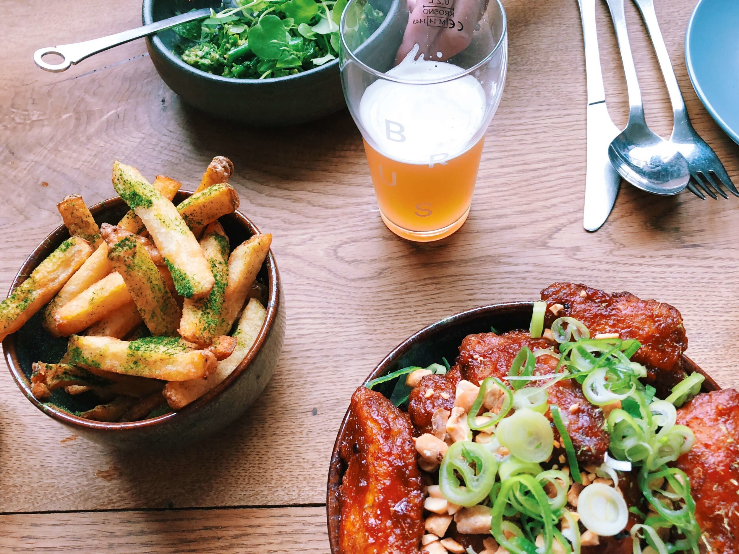 Broccoli, fermented fries, and Korean chicken at Brus