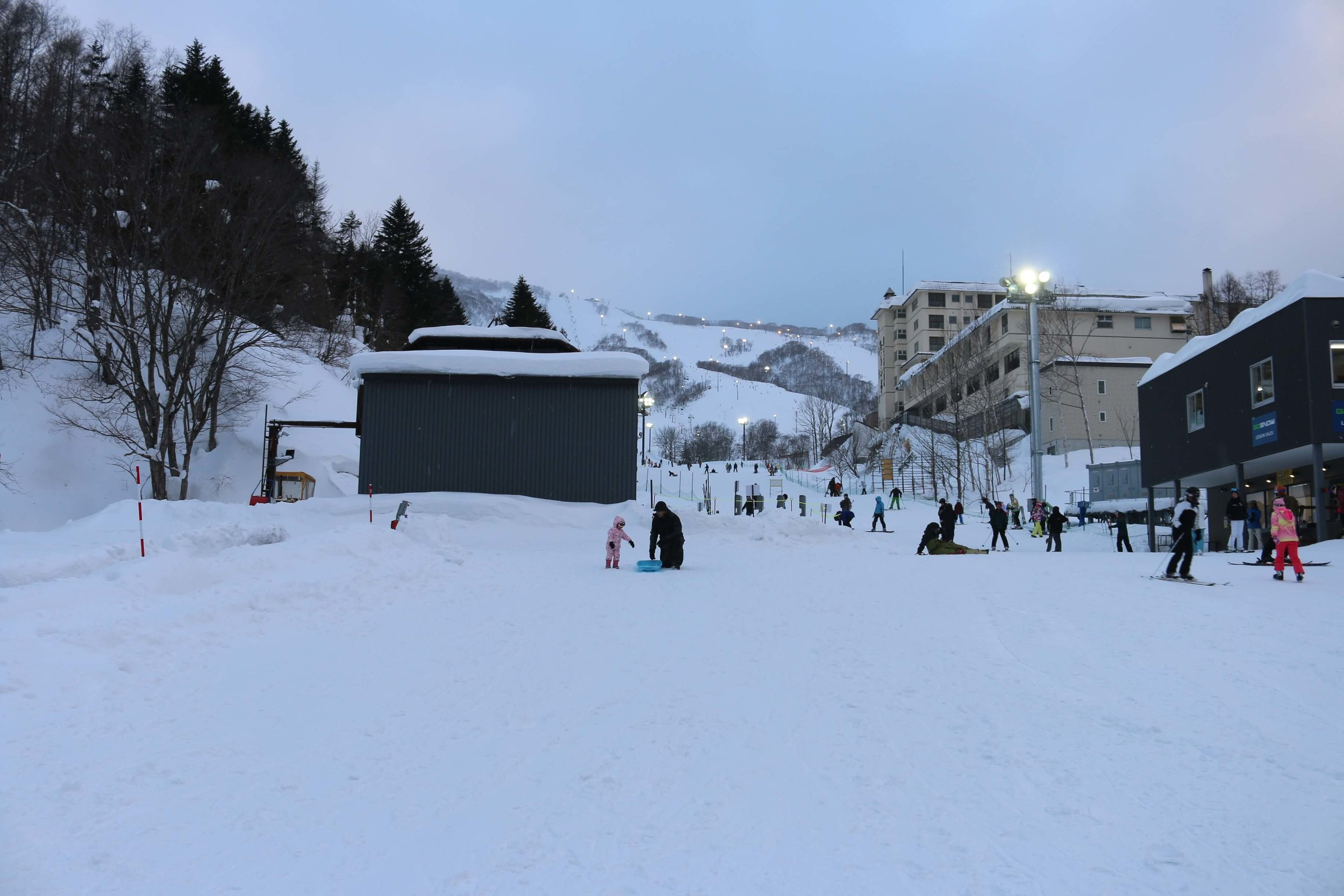 View of the family base ski lift & the mountain right behind the resort