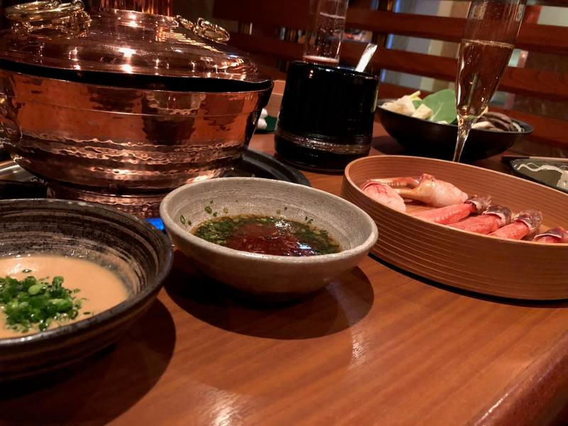 Crab legs + dipping sauces at Seryna (Ginza location)