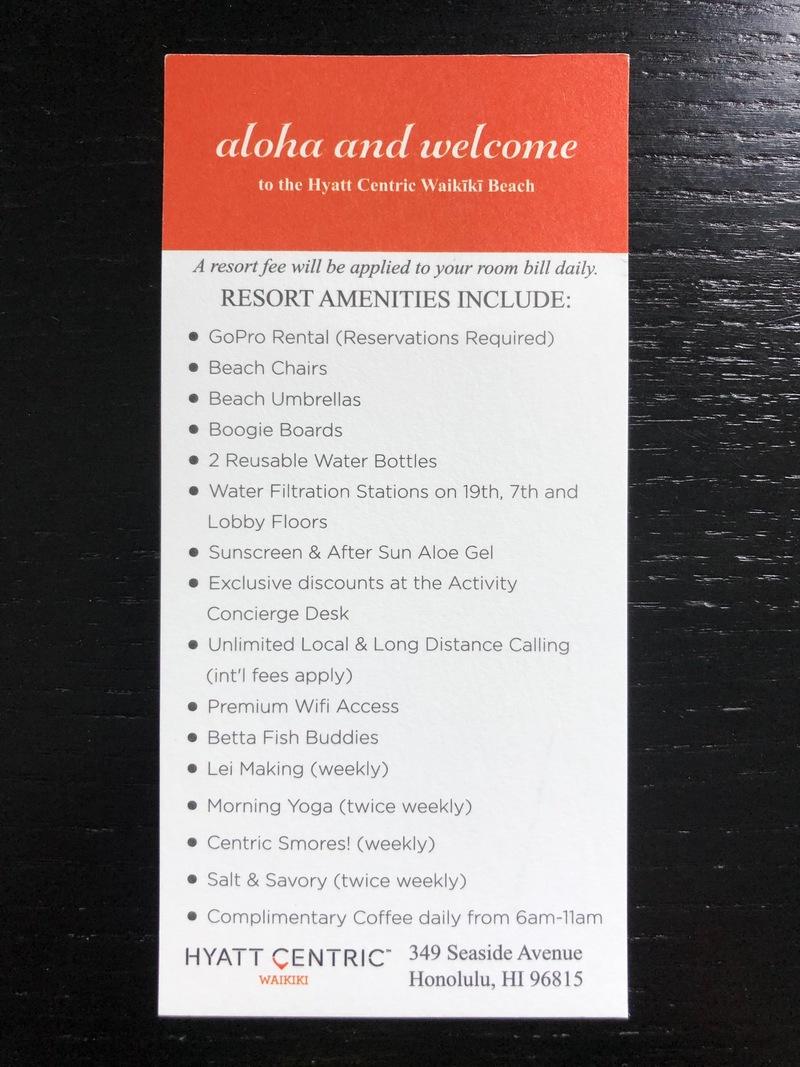 Hyatt Centric Waikiki's Resort charge inclusions