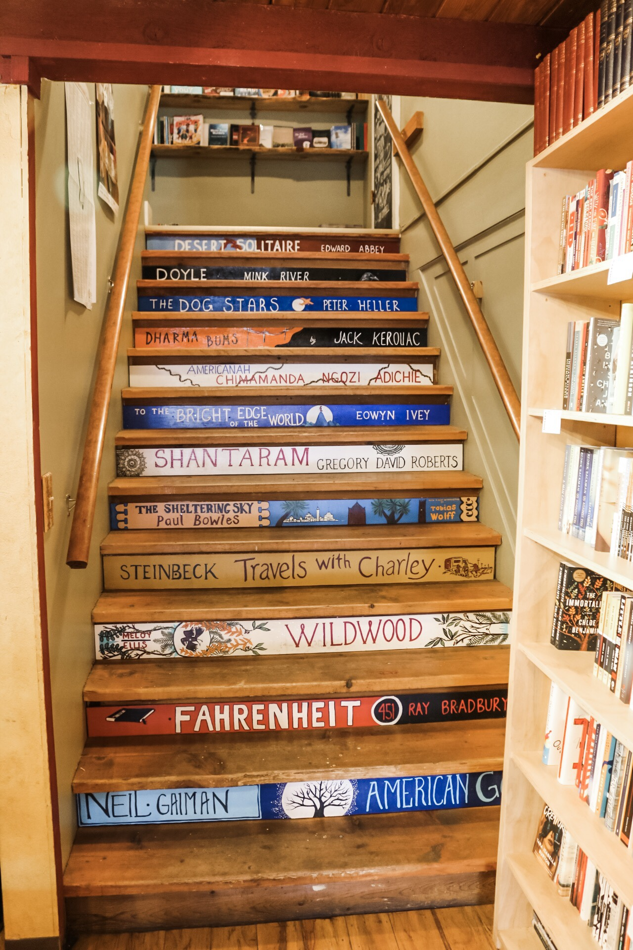 Loved these clever stairs leading to the second floor at Dudleys Bookshop Cafe.
