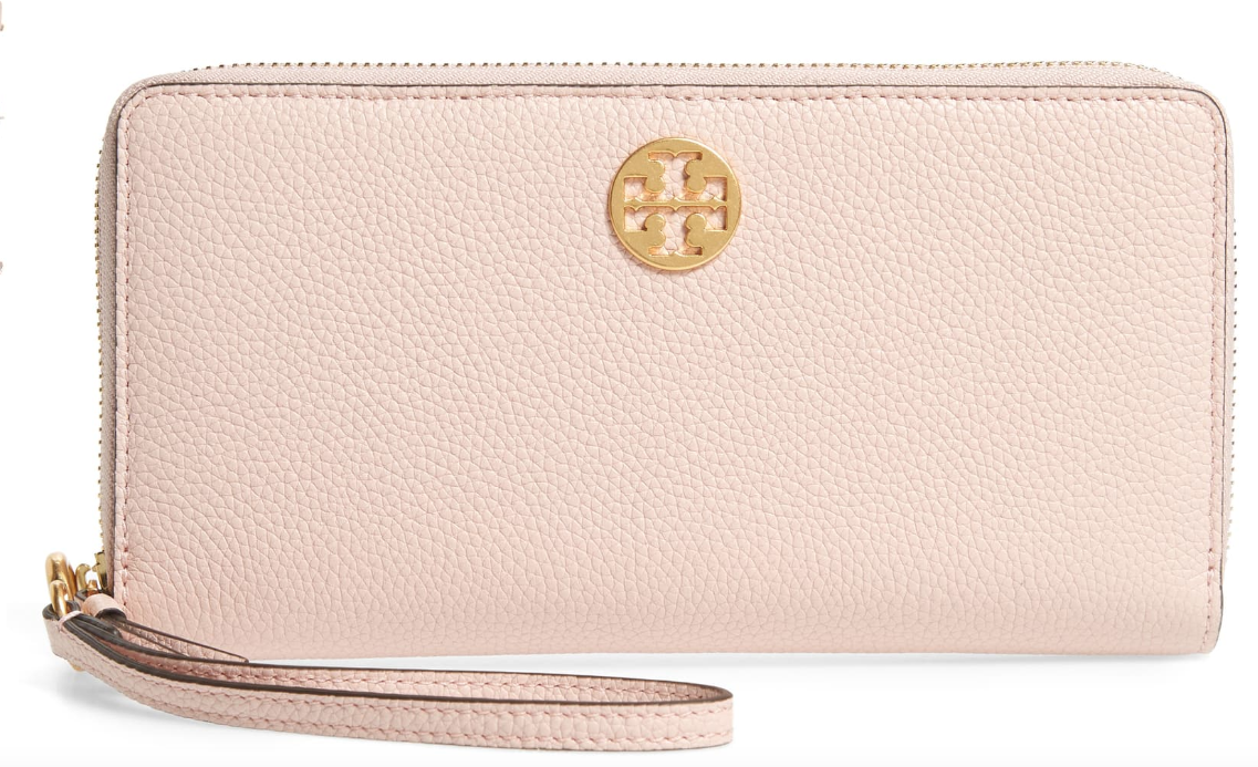 Tory Burch leather passport wallet, shown here in Shell Pink with gold toned hardware