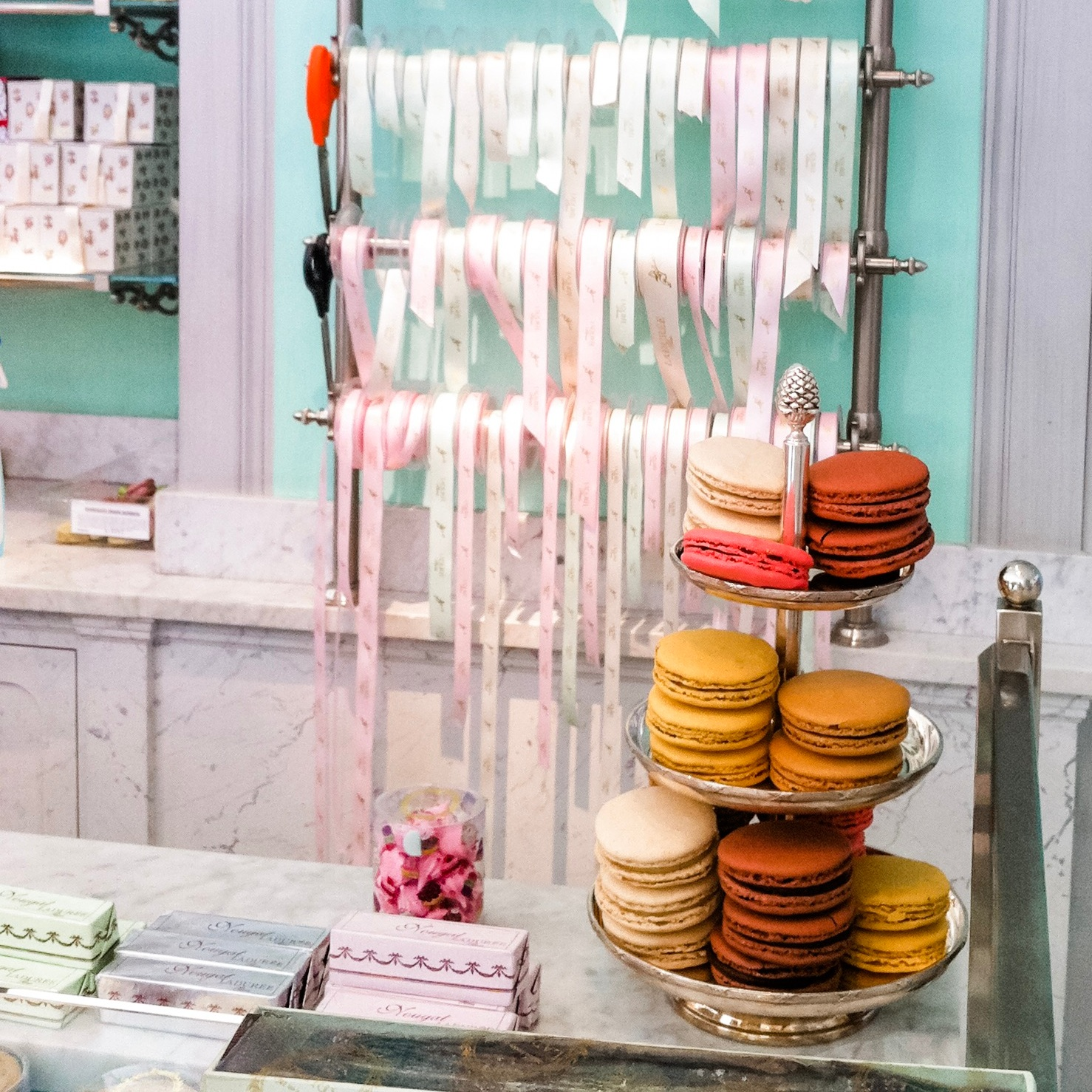 Laduree ribbons and macarons in the Le Bon Marche