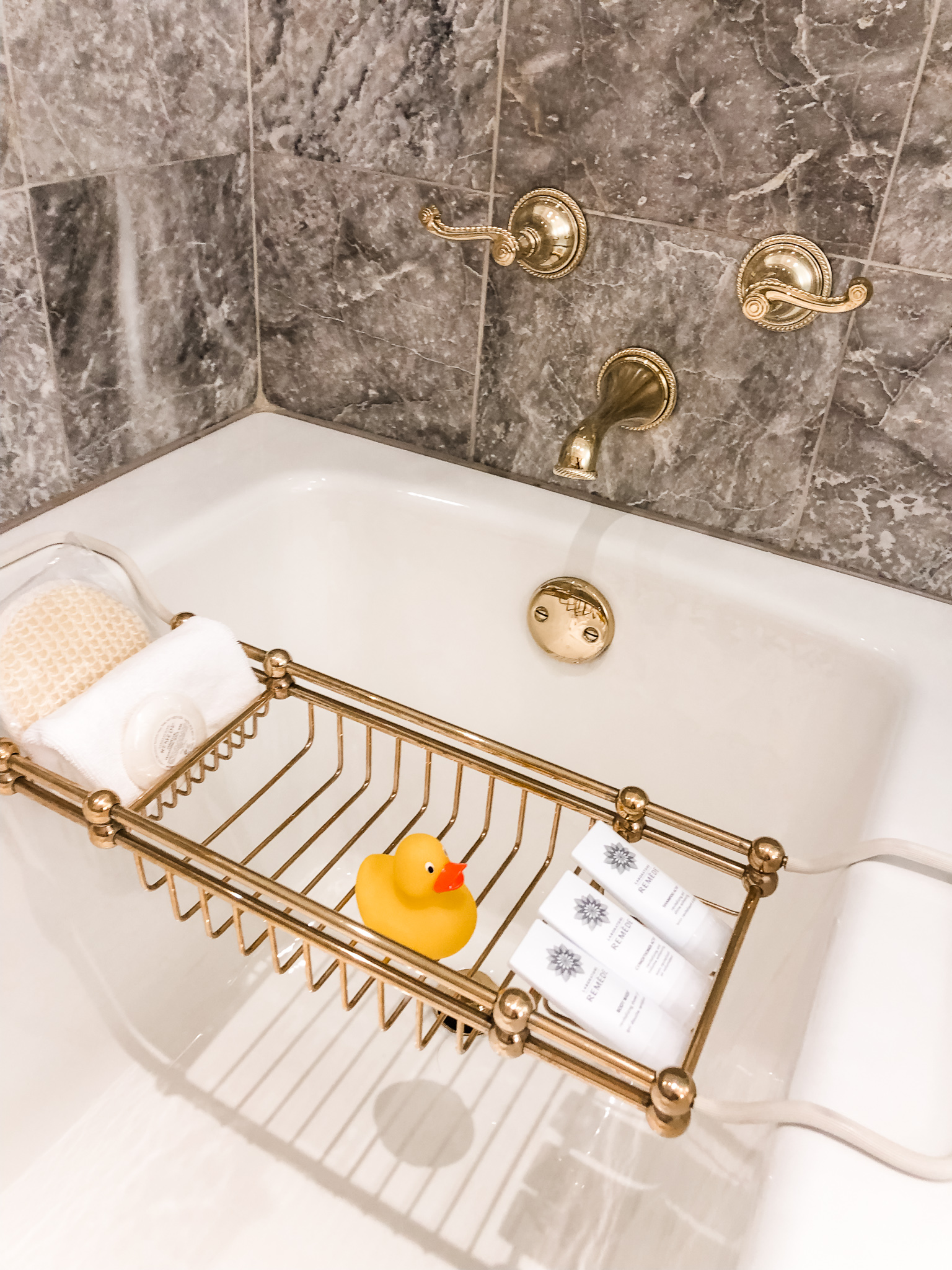 Our butler procured the baby 2 rubber duckies for bathtime