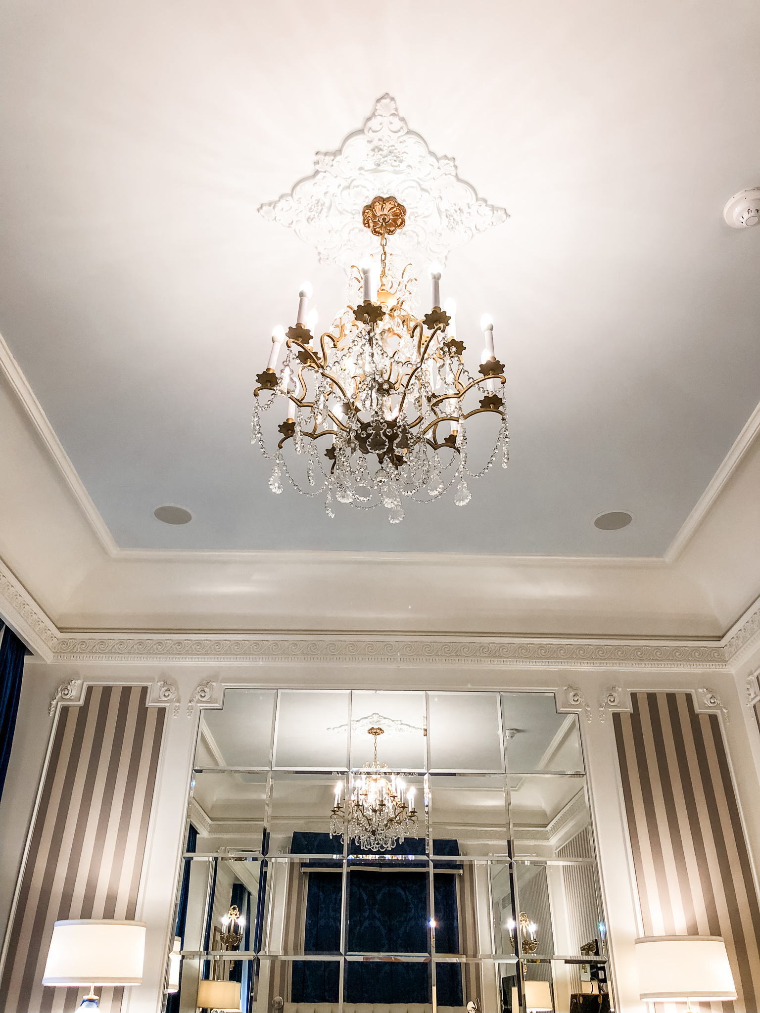12 foot ceilings and a gorgeous (and spotless!) chandelier