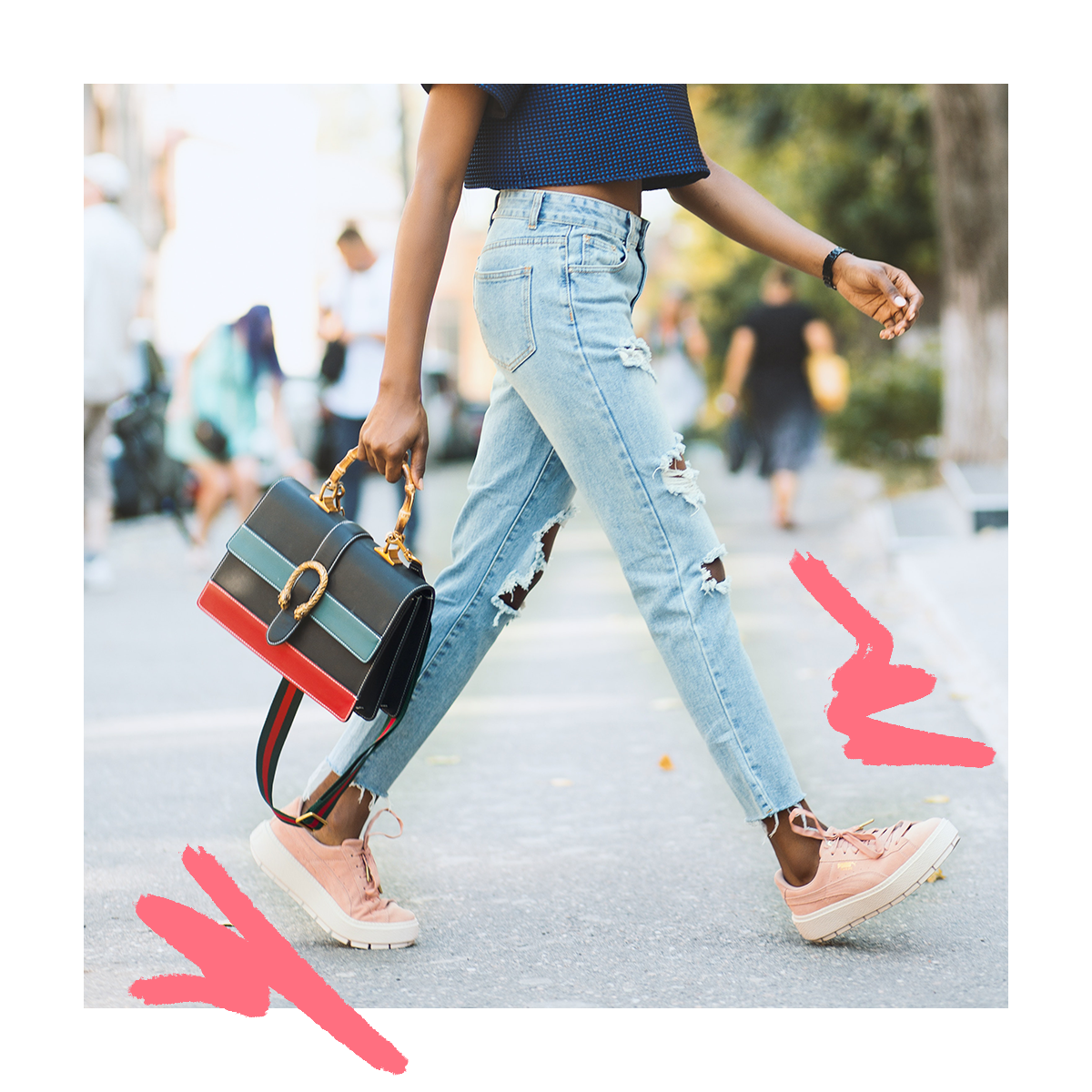 Street style and posts that show movement inspire a feel-good moment