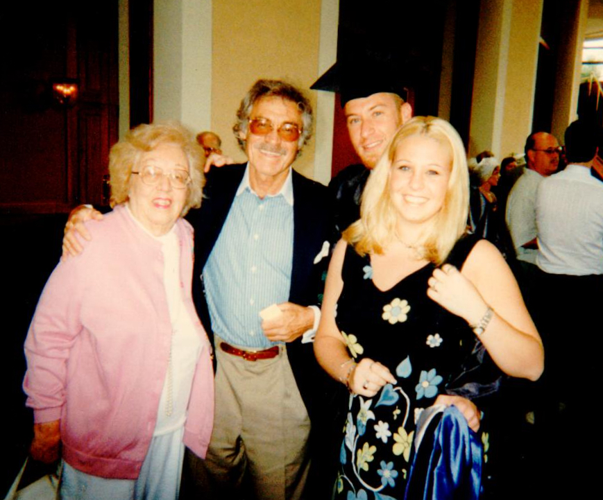Grandma Charlotte, my dad (her son), me and my sister at my law school graduation — 1997.