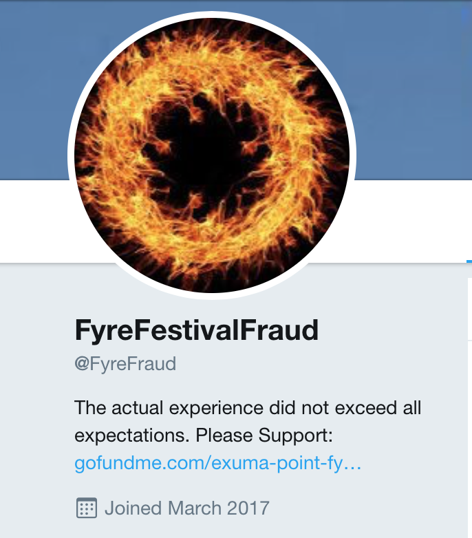 A very active counter-account, also mentioned on Netflix's documentary about Fyre