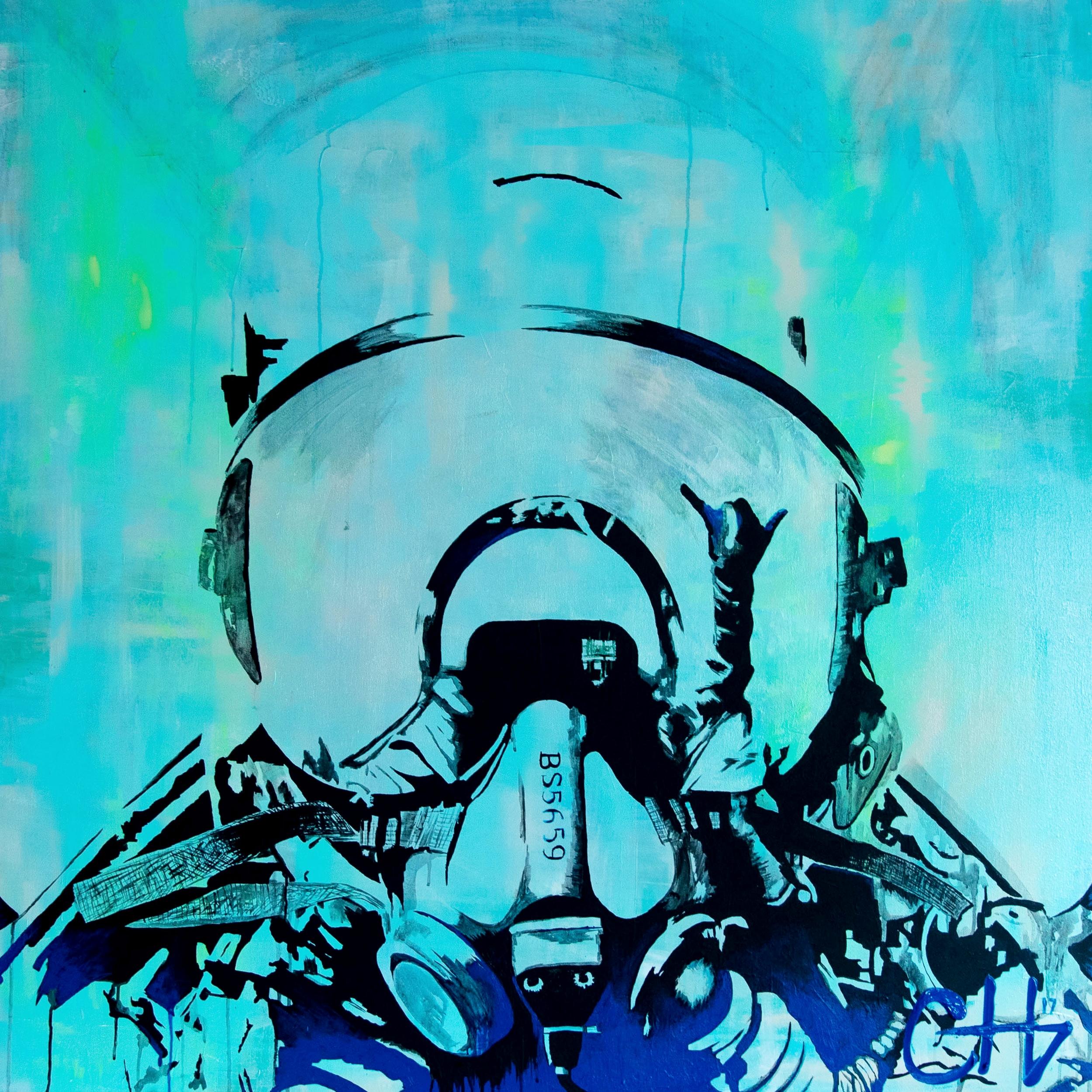 Pilot Selfie Painting By Casey Lynn Hancock