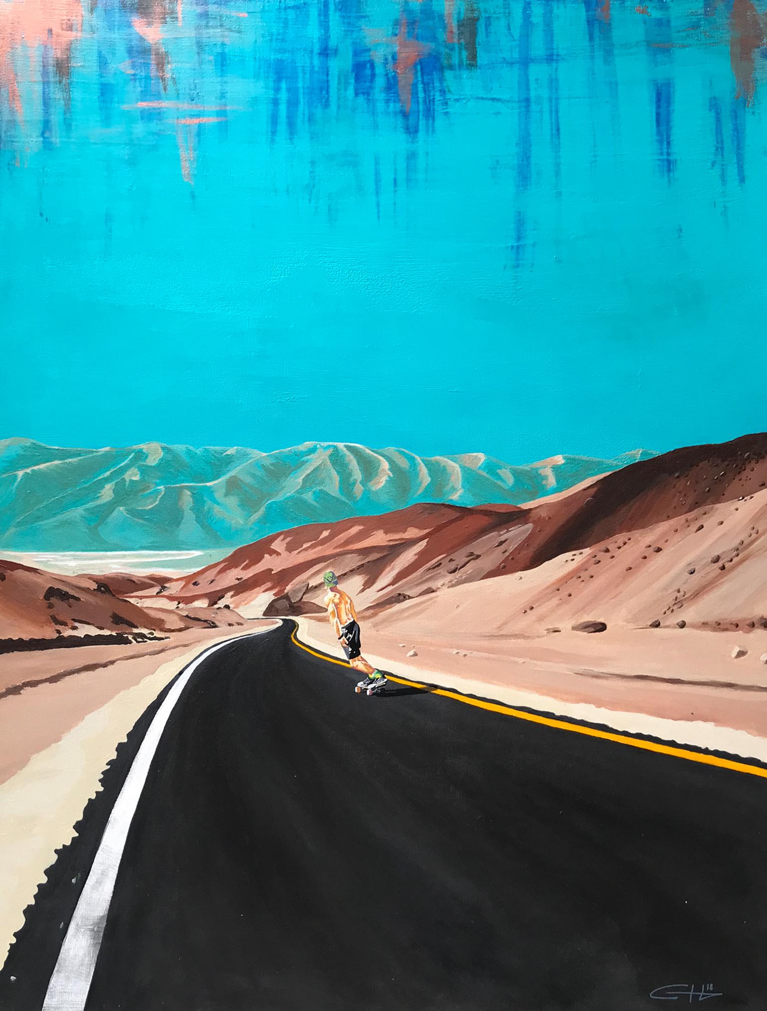 Original Death Valley Skateboarder Painting