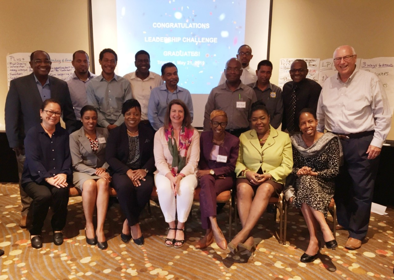 Tom Pearce and Renee Harness with the first ever Leadership Challenge Workshop grads in Trinidad (May 2019).