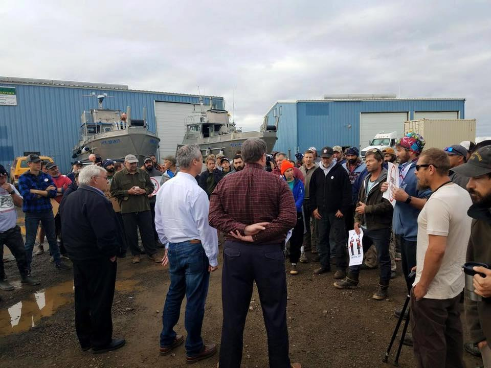 Bristol Bay residents and fishermen talk to EPA officials including Counsel Matthew Leopold at the Dillingham boatyard in June 2019, just weeks before Leopold directed EPA Region 10 staff to resume consideration of withdrawing proposed protections for the fishery. Photo Courtesy of Martin Speak.