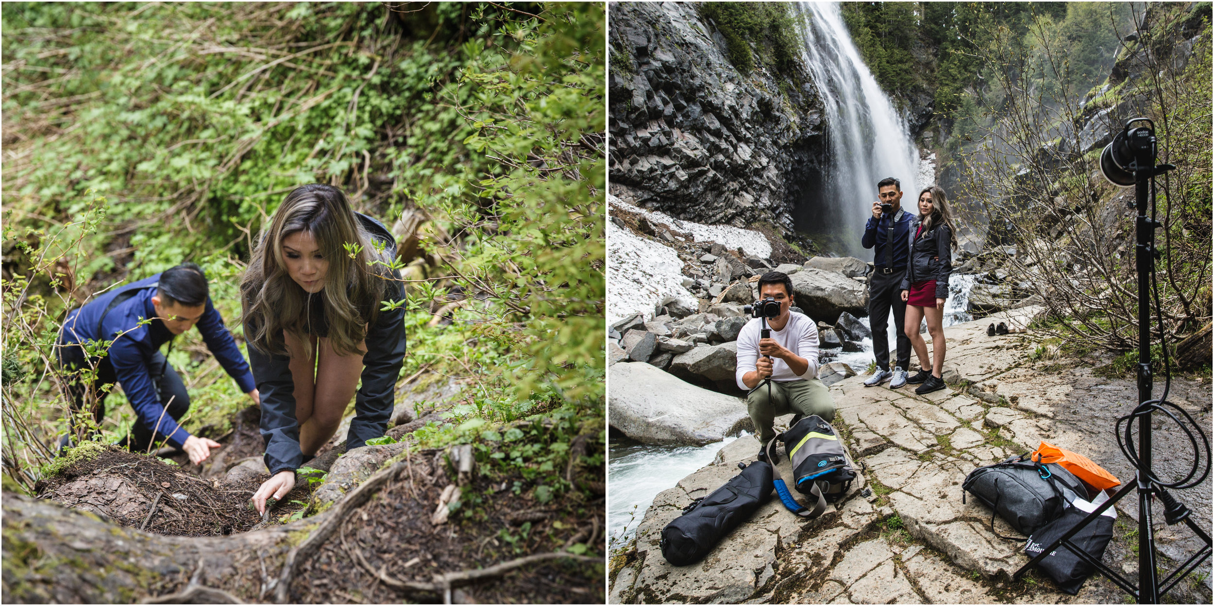 There was no clear path to Narada Falls, so we took it upon ourselves to create a path. Cindy and Jimmy were troopers climbing down slippery mud and rocks in their dress clothes.