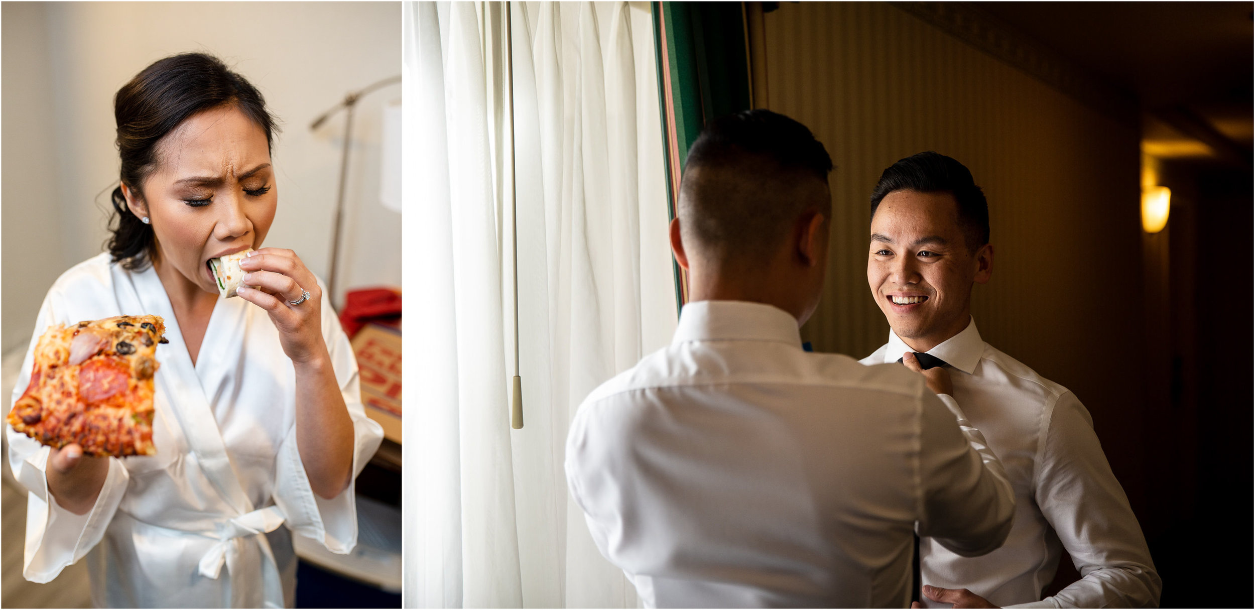 We all have our own way to prepare for a wedding. The Hilton Garden Inn in Pleasanton is conveniently located near popular wedding venues in the East Bay. We started our day with getting-ready photos there.