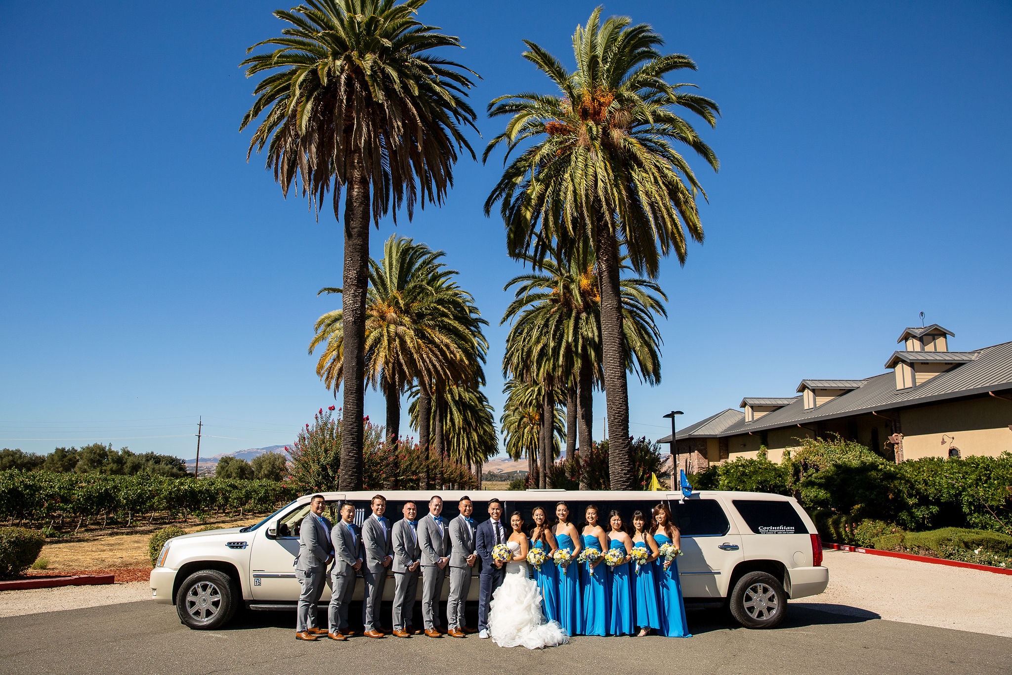 Corinthian Limo had the best limos and awesome limo drivers! The double rows of palm trees are signature to the Palm Event Center in the Vineyard (duh)