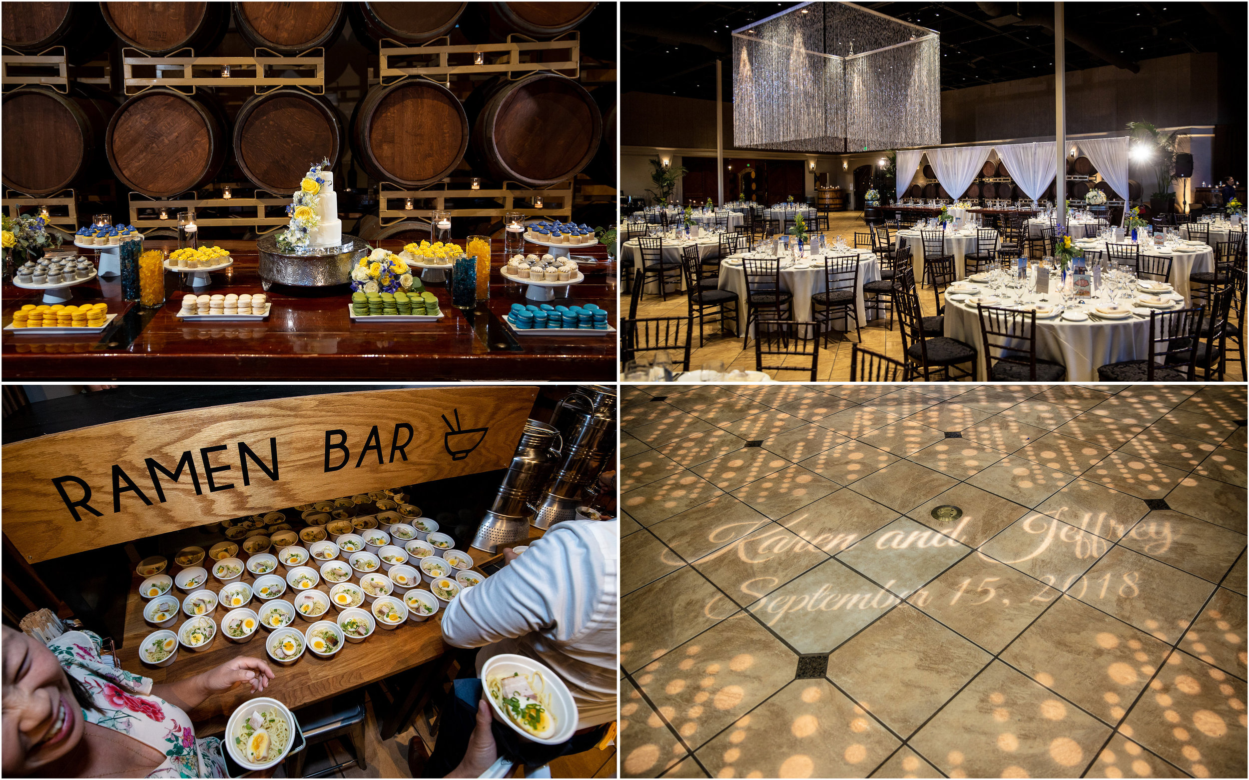The Palm Event Center reception was large enough to host a large guest list and also allowed room for creative wedding ideas like a dessert table and even a ramen bar! WHAT!?
