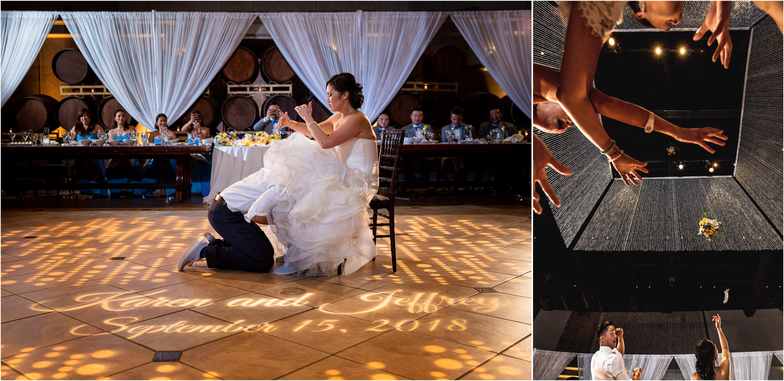 Karen and Jeff went with an untraditional toss by tossing their garter and bouquet at the same time!