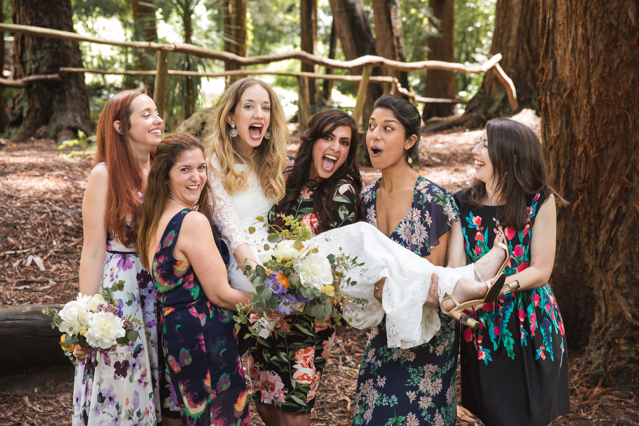 Katie, the bride, and her best friends show what it means to be best friends. We were very impressed at how coordinated they were to pull this off.